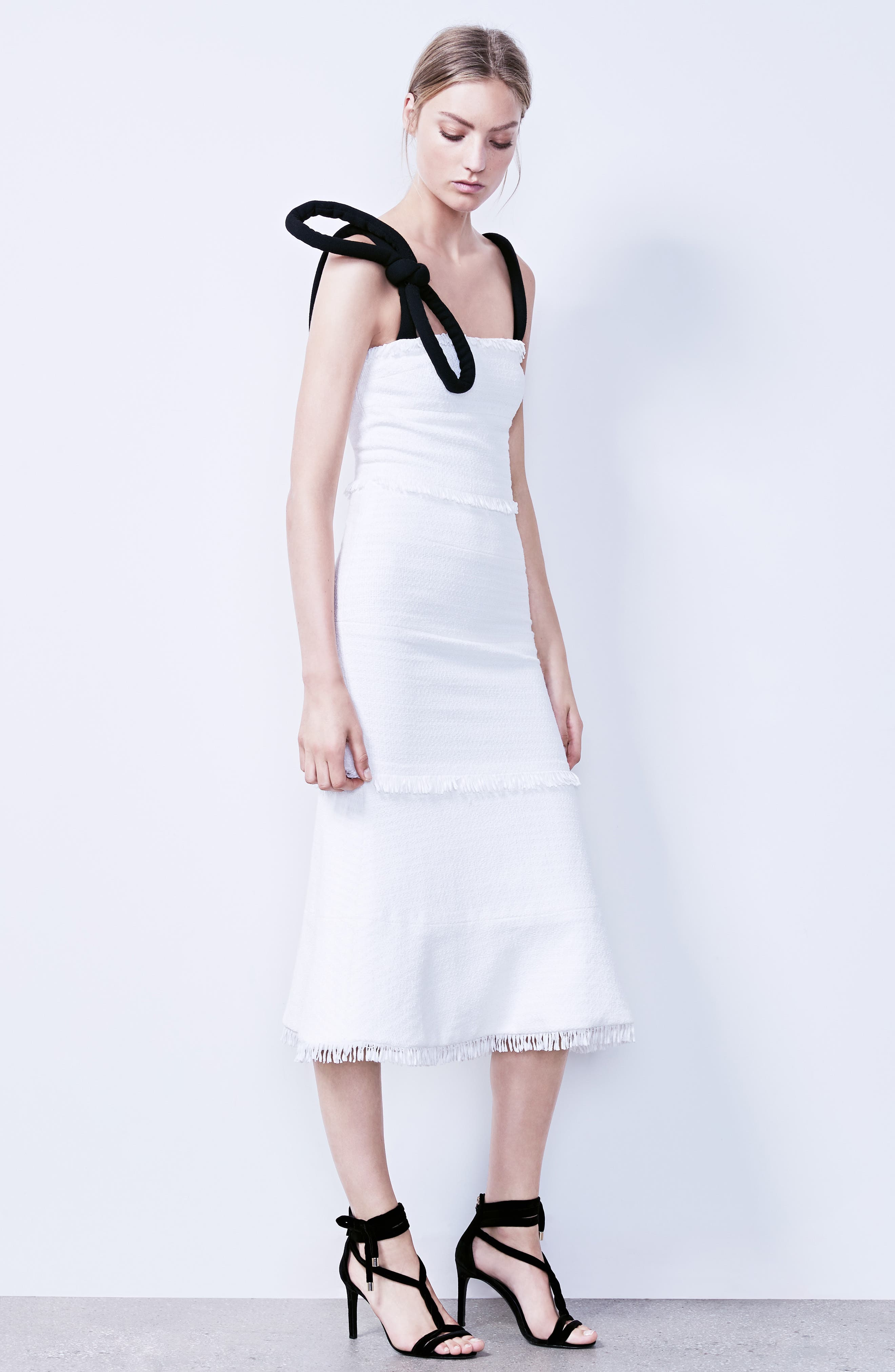 Cord Strap Ribbon Tweed Dress,                             Alternate thumbnail 7, color,                             900