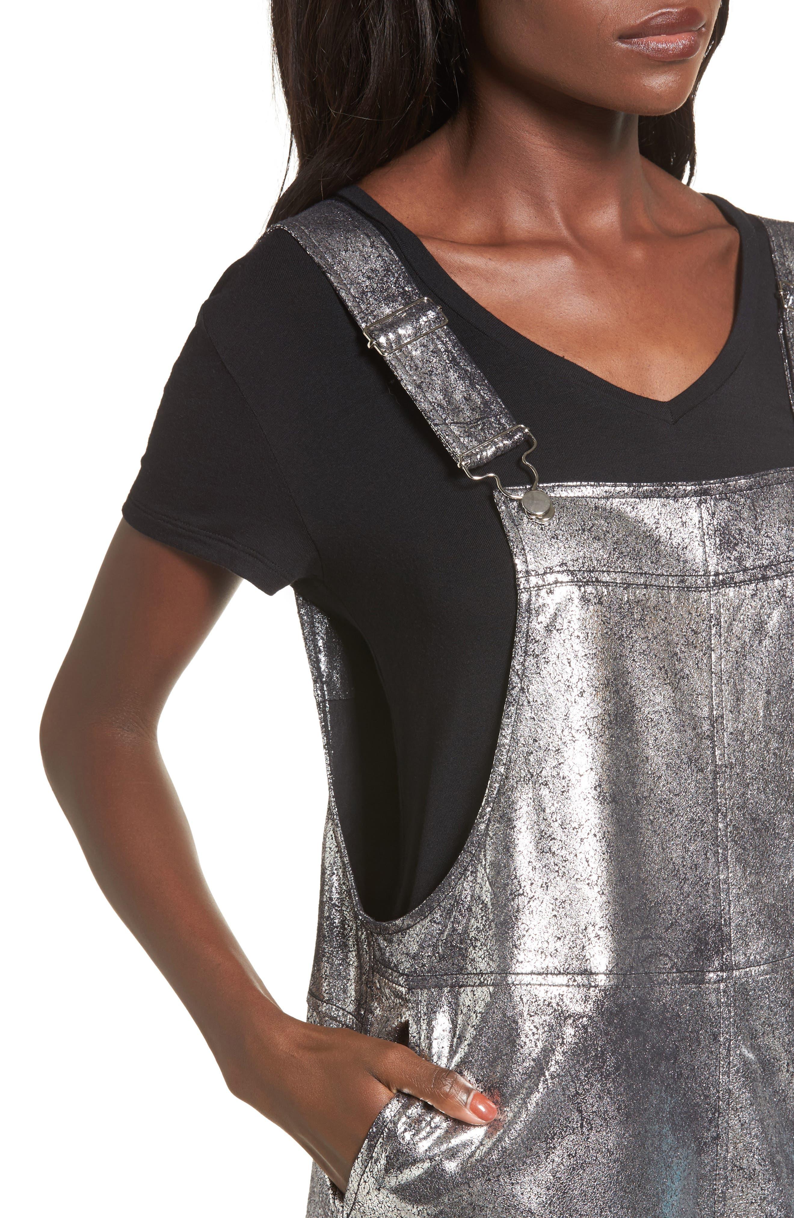 Metallic Overall Minidress,                             Alternate thumbnail 4, color,
