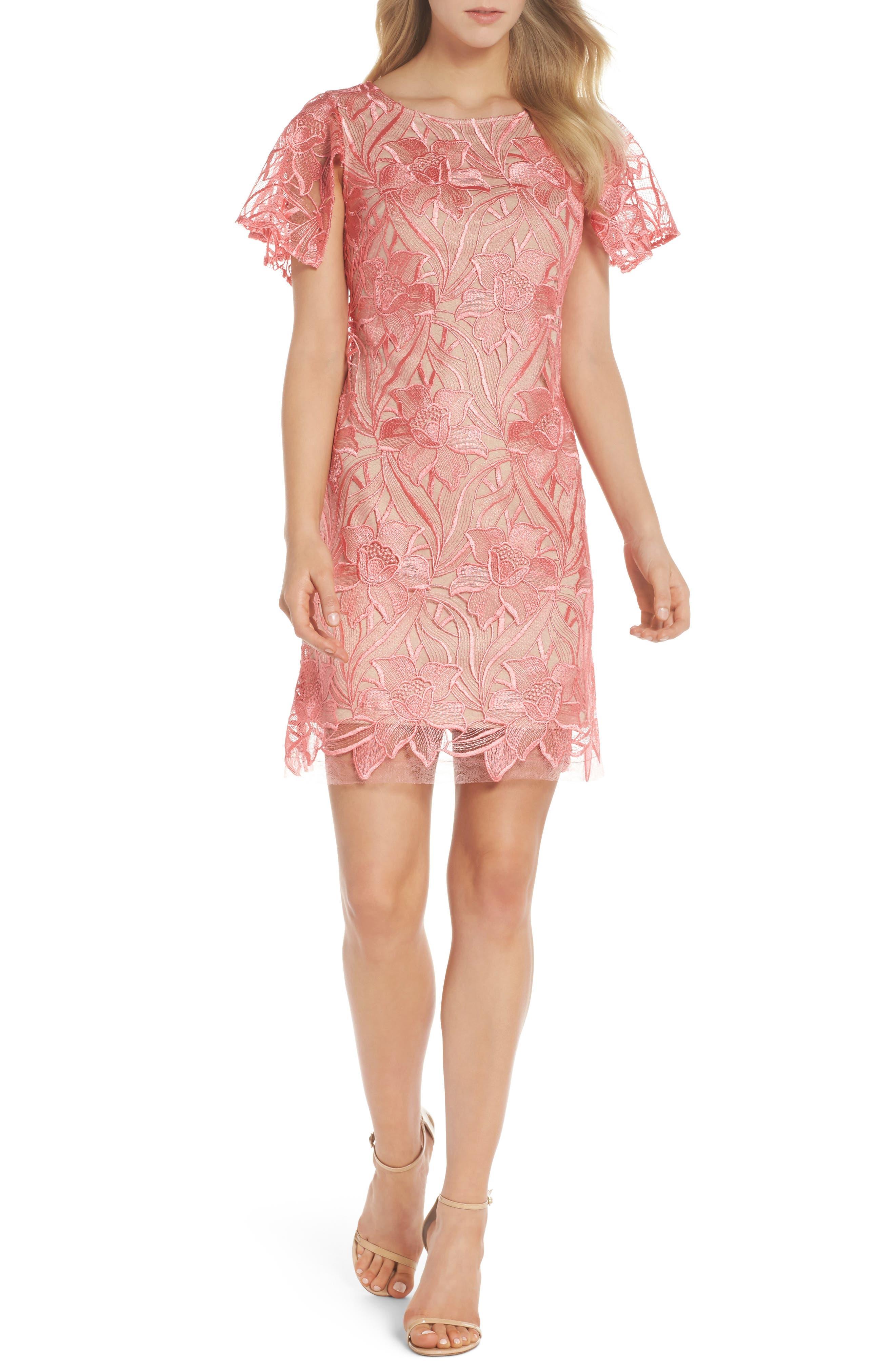 Floral Mesh Lace Shift Dress,                         Main,                         color, 950