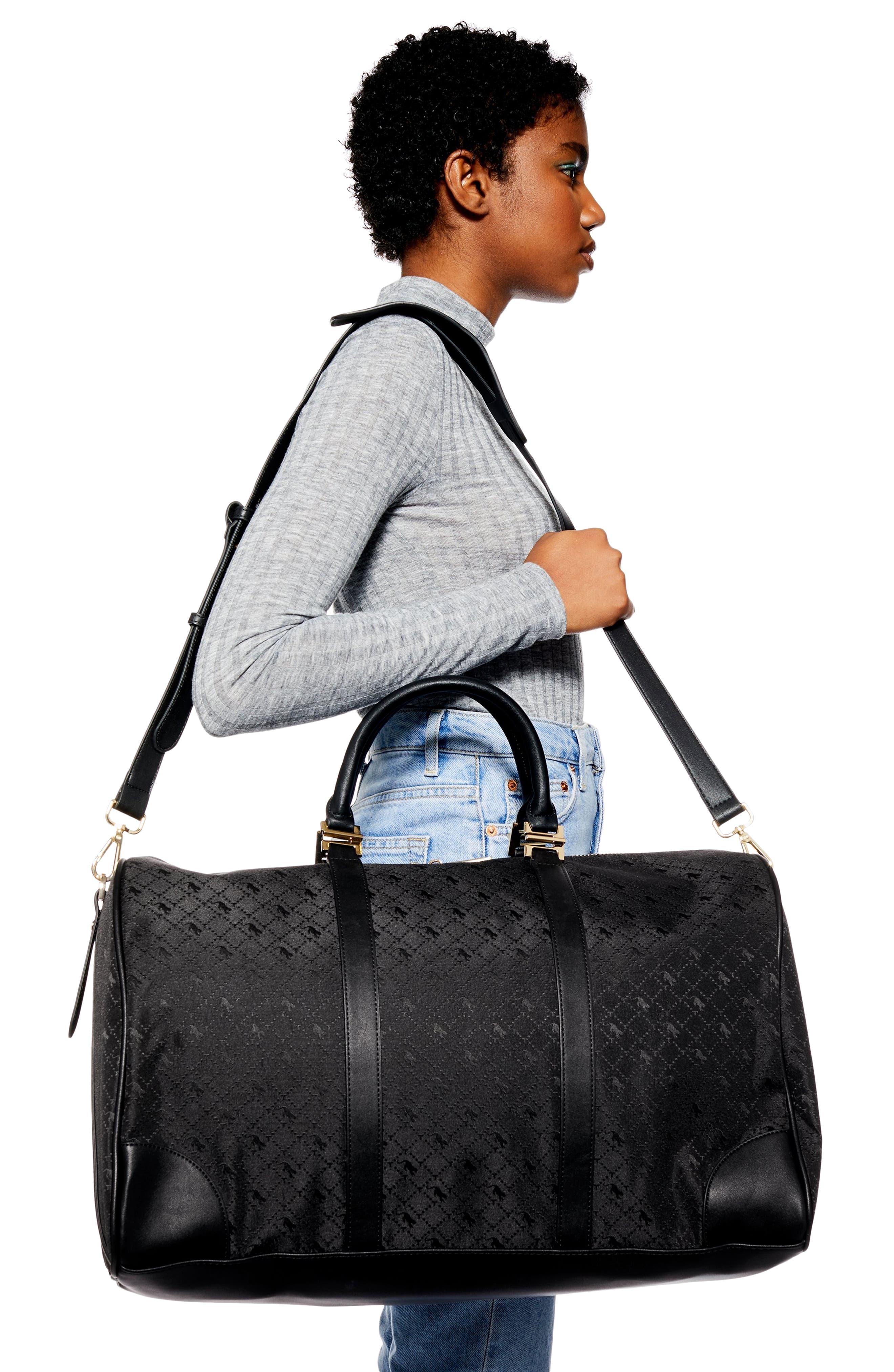 TOPSHOP,                             Large Madrid Duffel Bag,                             Alternate thumbnail 2, color,                             BLACK