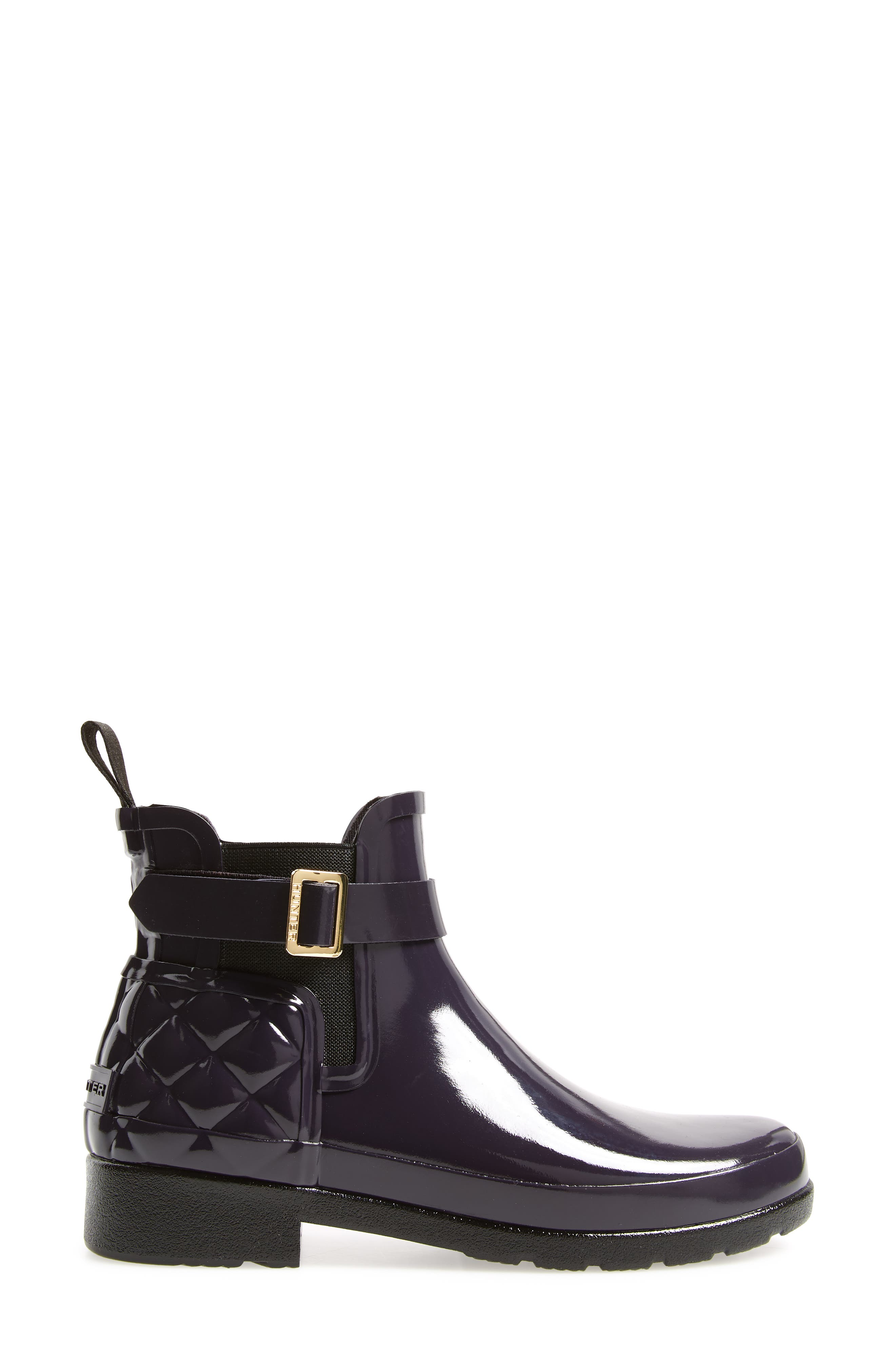 Original Refined Quilted Gloss Chelsea Waterproof Boot,                             Alternate thumbnail 3, color,                             AUBERGINE