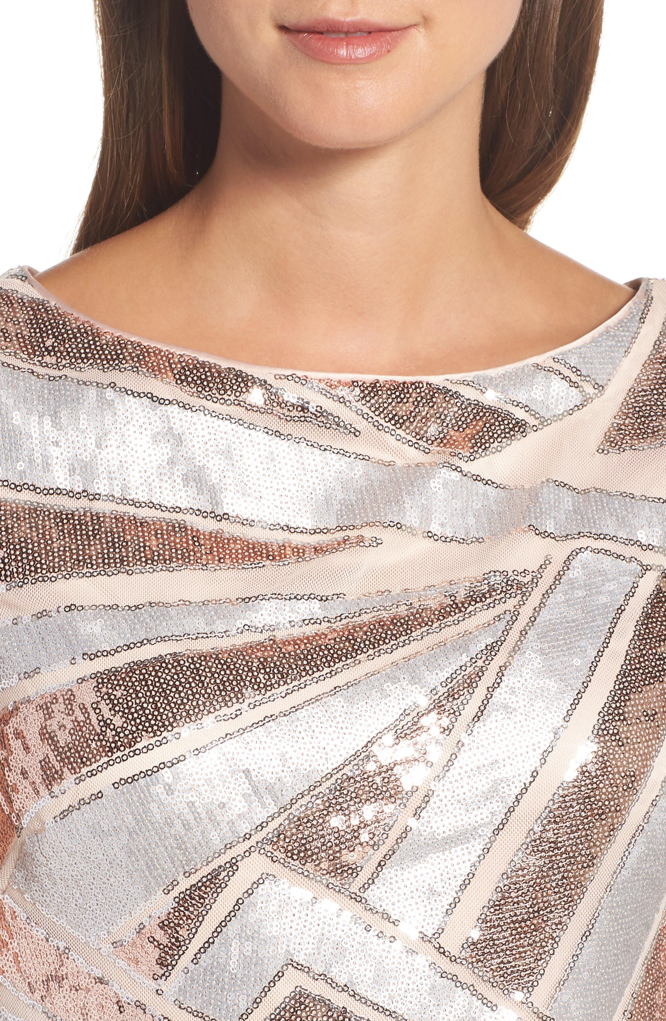 Sequin Body-Con Dress,                             Alternate thumbnail 4, color,