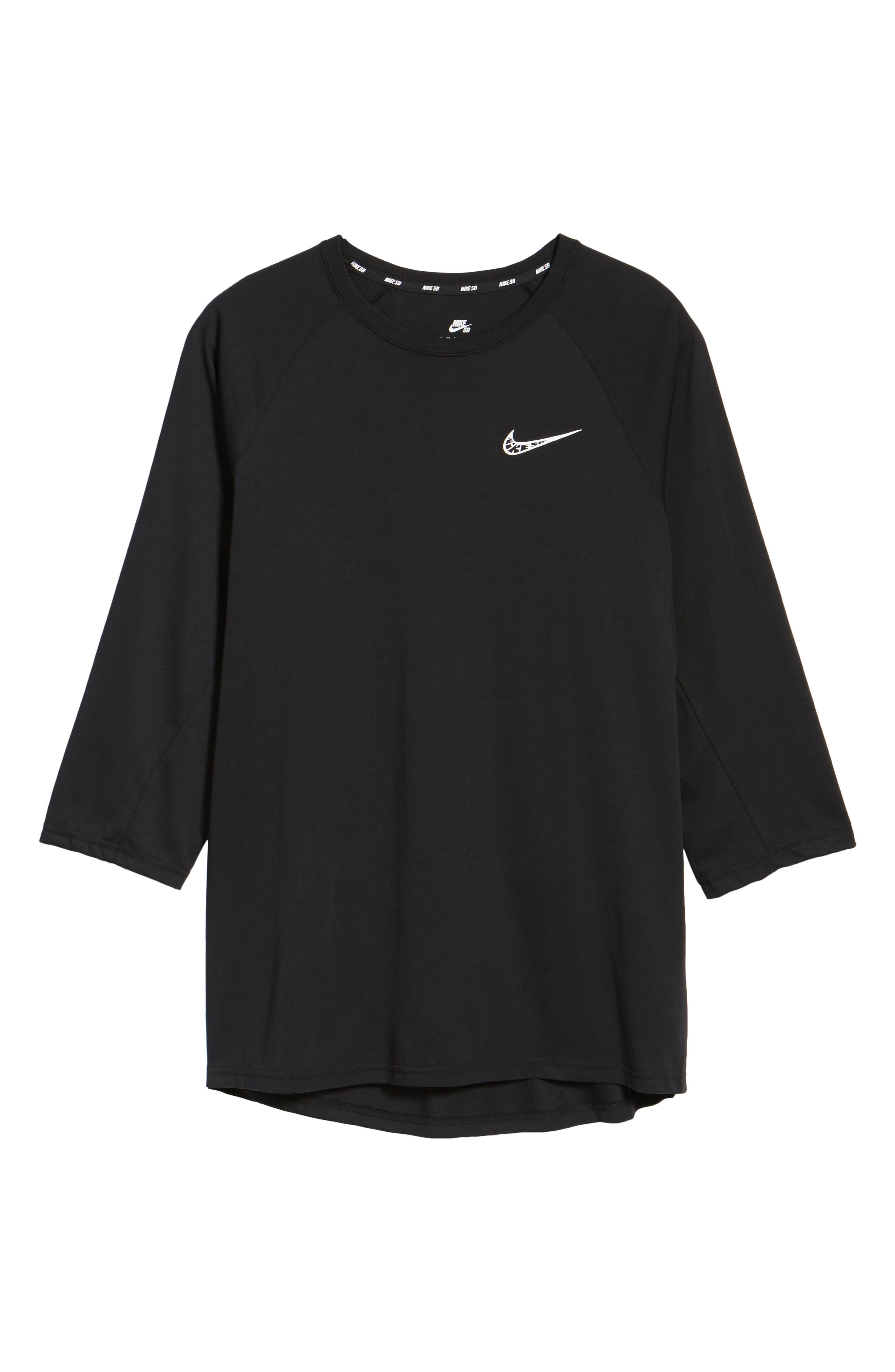 Dry Baseball T-Shirt,                             Alternate thumbnail 6, color,                             BLACK/ BLACK/ WHITE