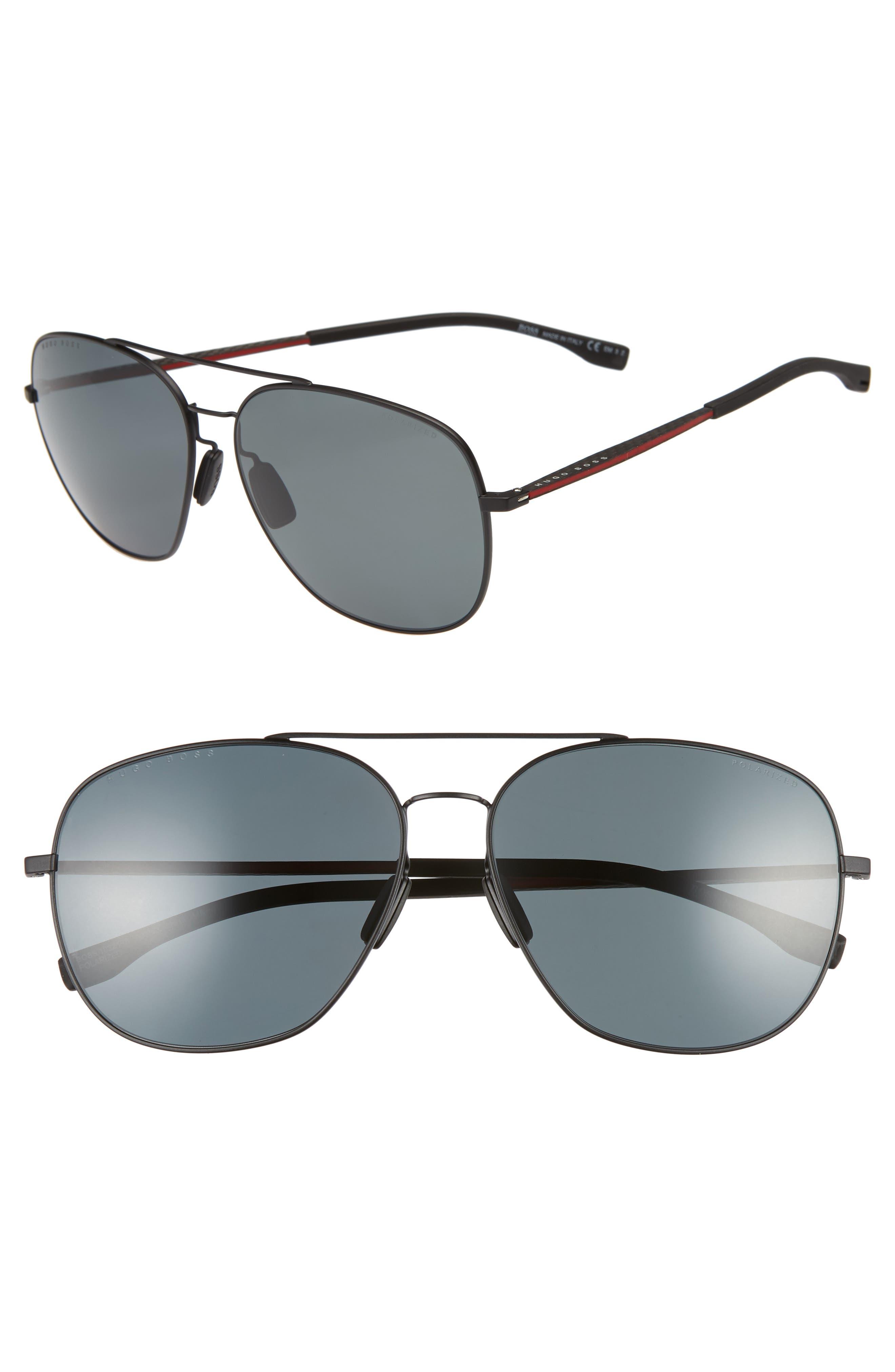 62mm Polarized Special Fit Aviator Sunglasses,                         Main,                         color, MATTE BLACK