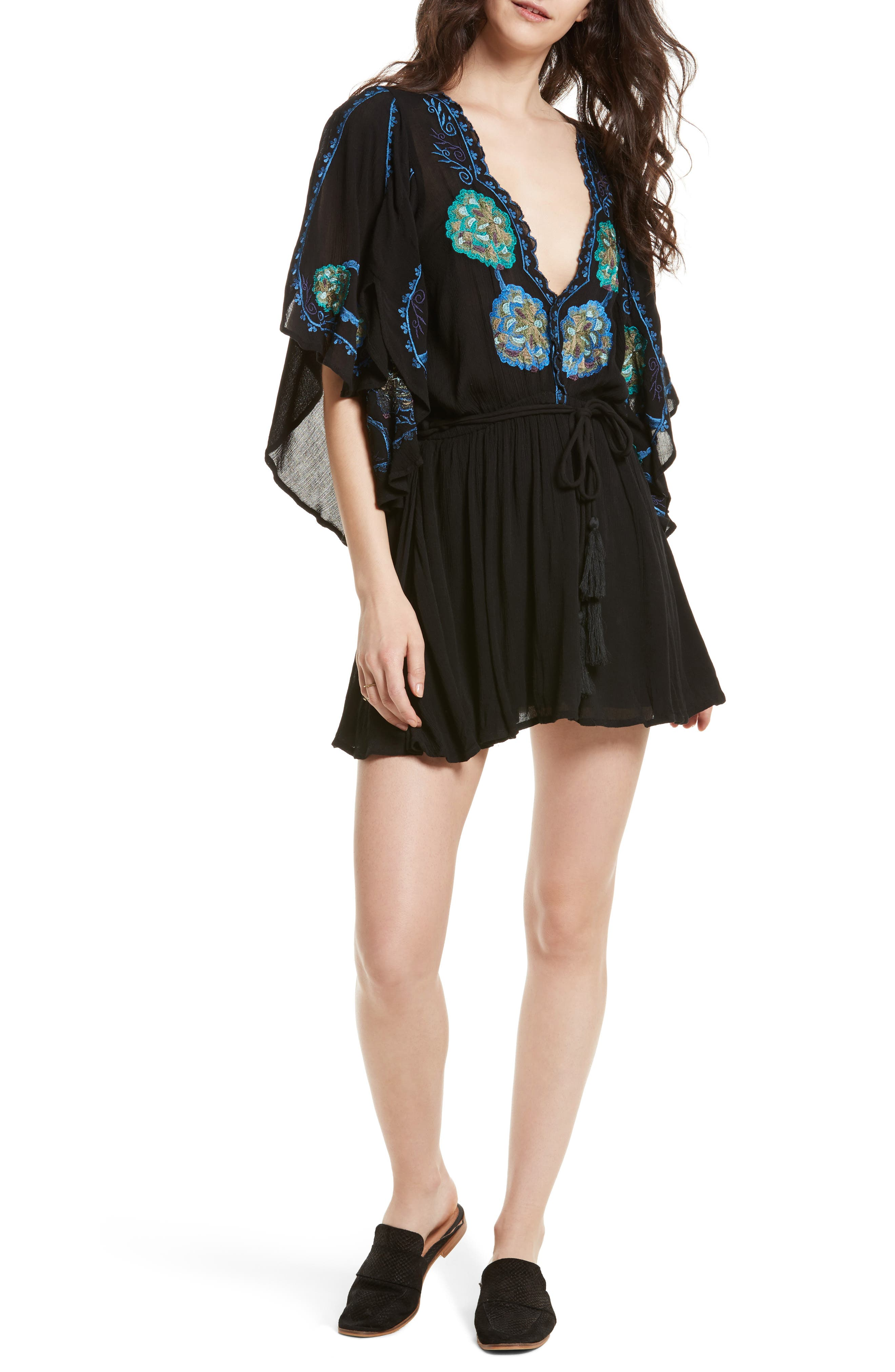 Cora Embroidered Minidress,                             Main thumbnail 1, color,                             001