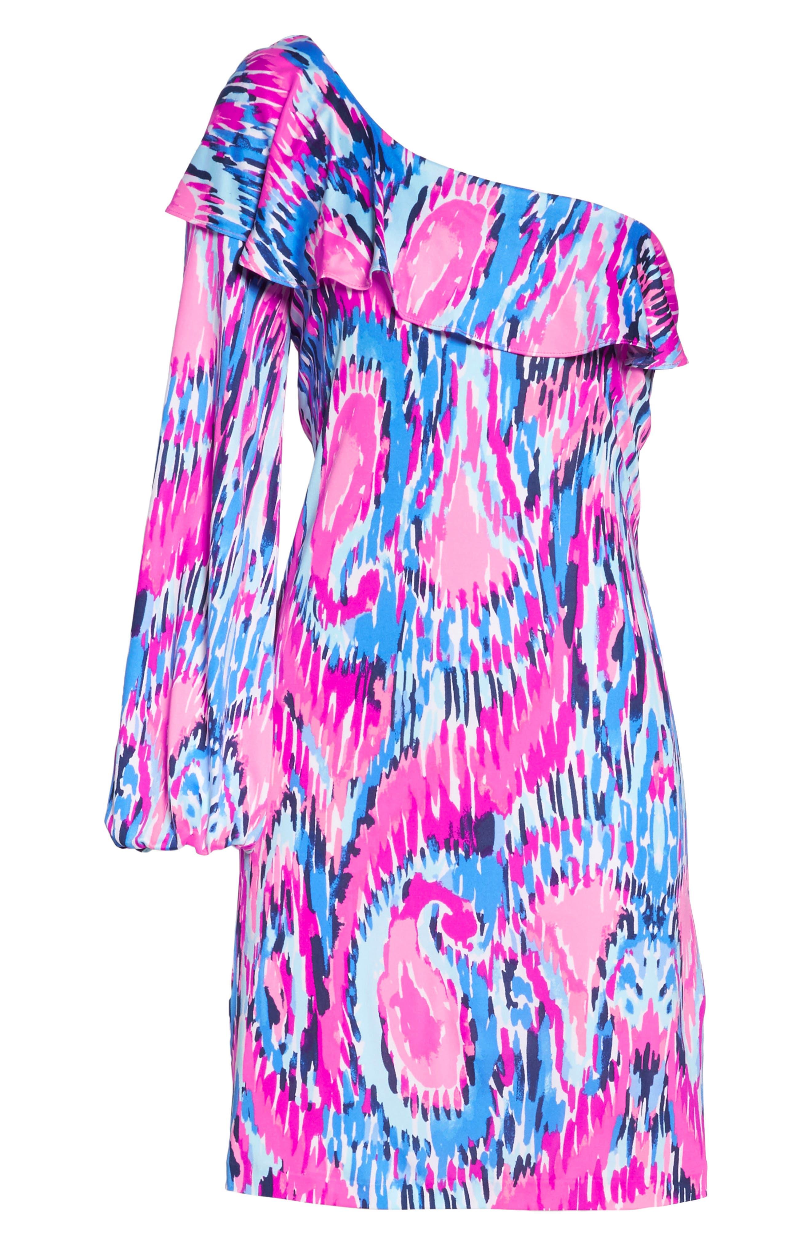 Amante One-Shoulder Silk Dress,                             Alternate thumbnail 7, color,                             650