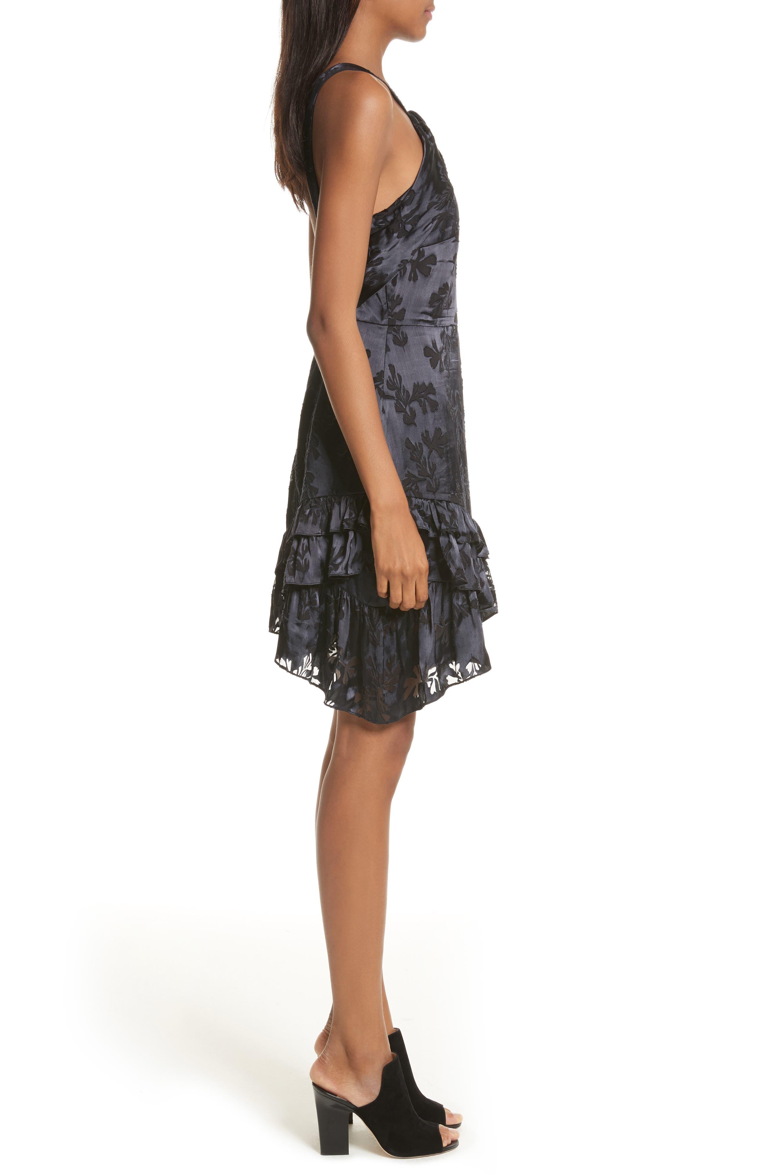 Burnout Silk Satin Dress,                             Alternate thumbnail 3, color,