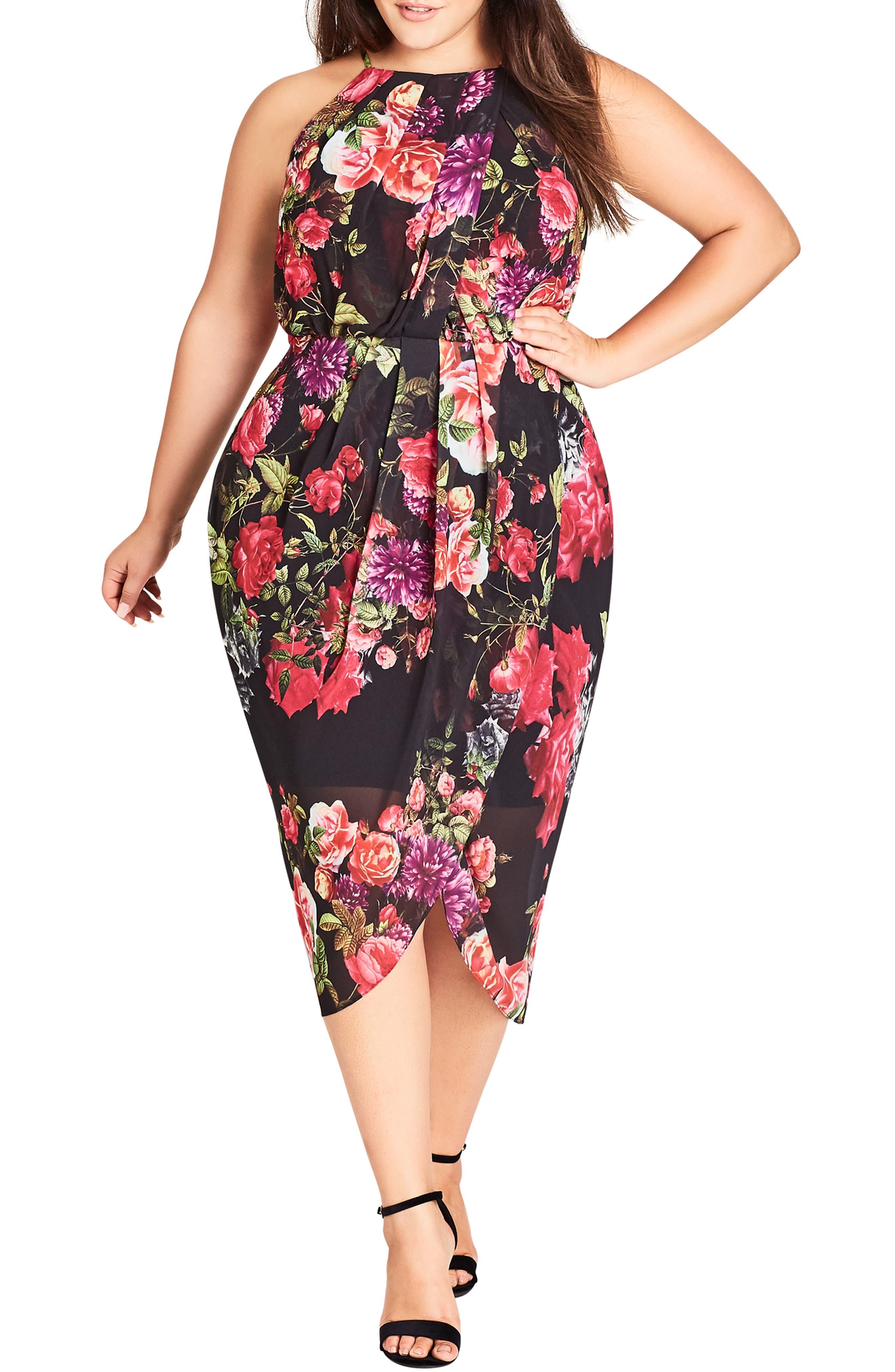 Plus Size City Chic Chelsea Tulip Hem Midi Dress, Black