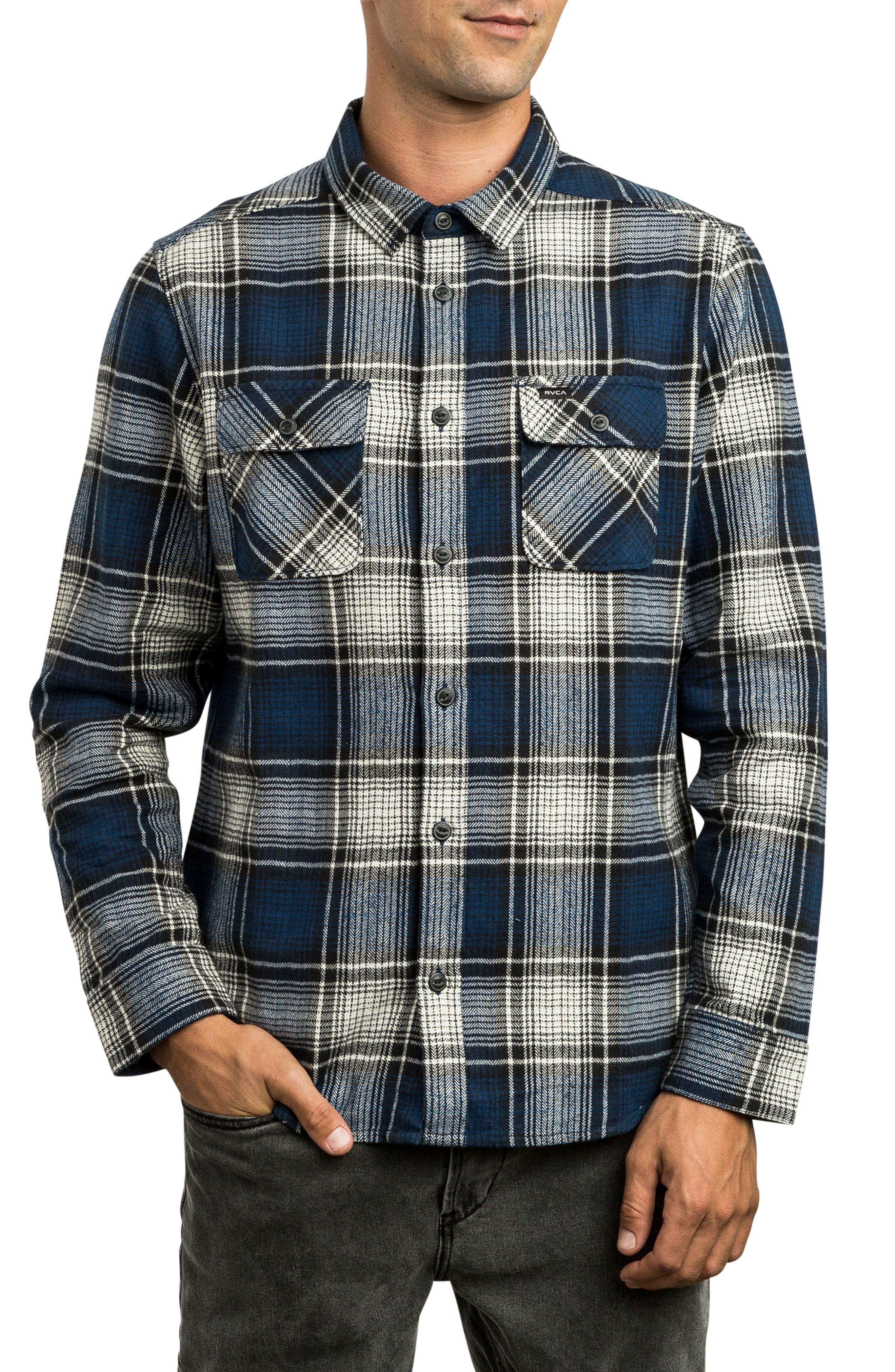 Rvca High Plains Flannel Shirt, Blue