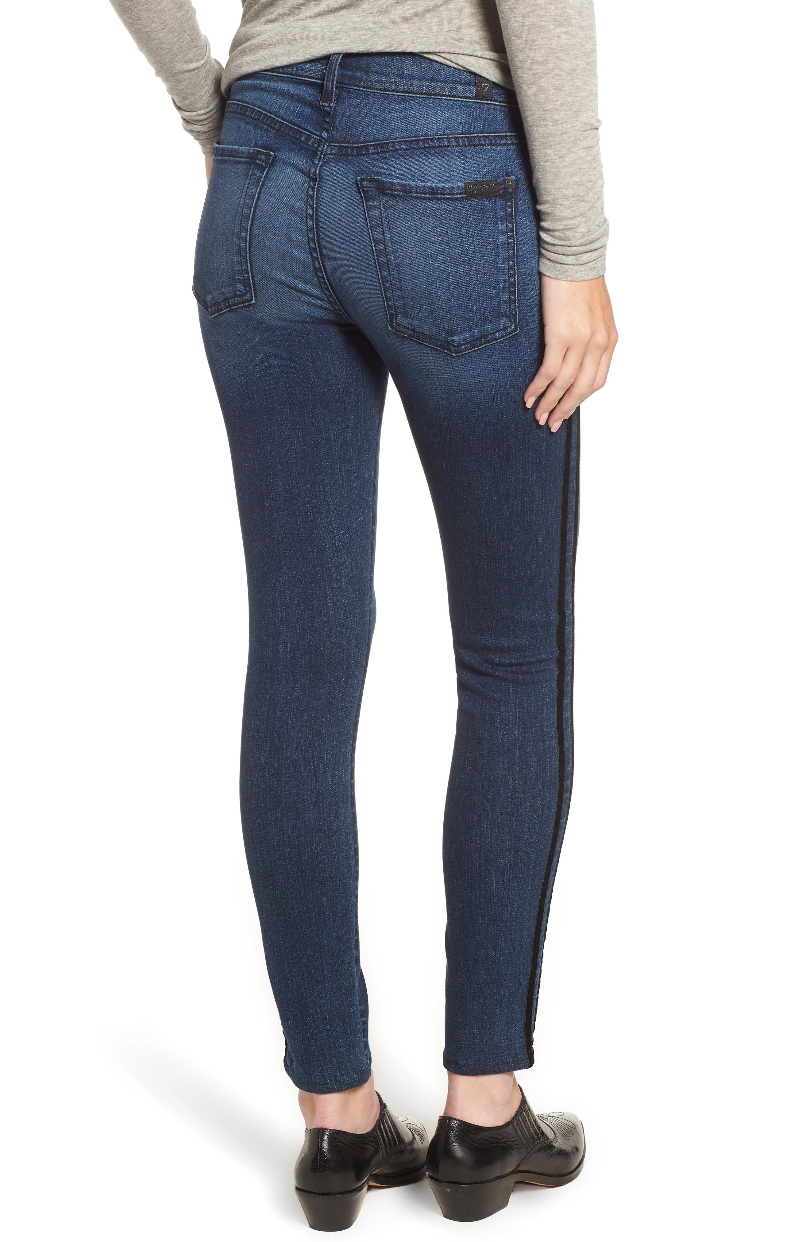 Ankle Skinny Double Stripes Jeans,                             Alternate thumbnail 2, color,                             400