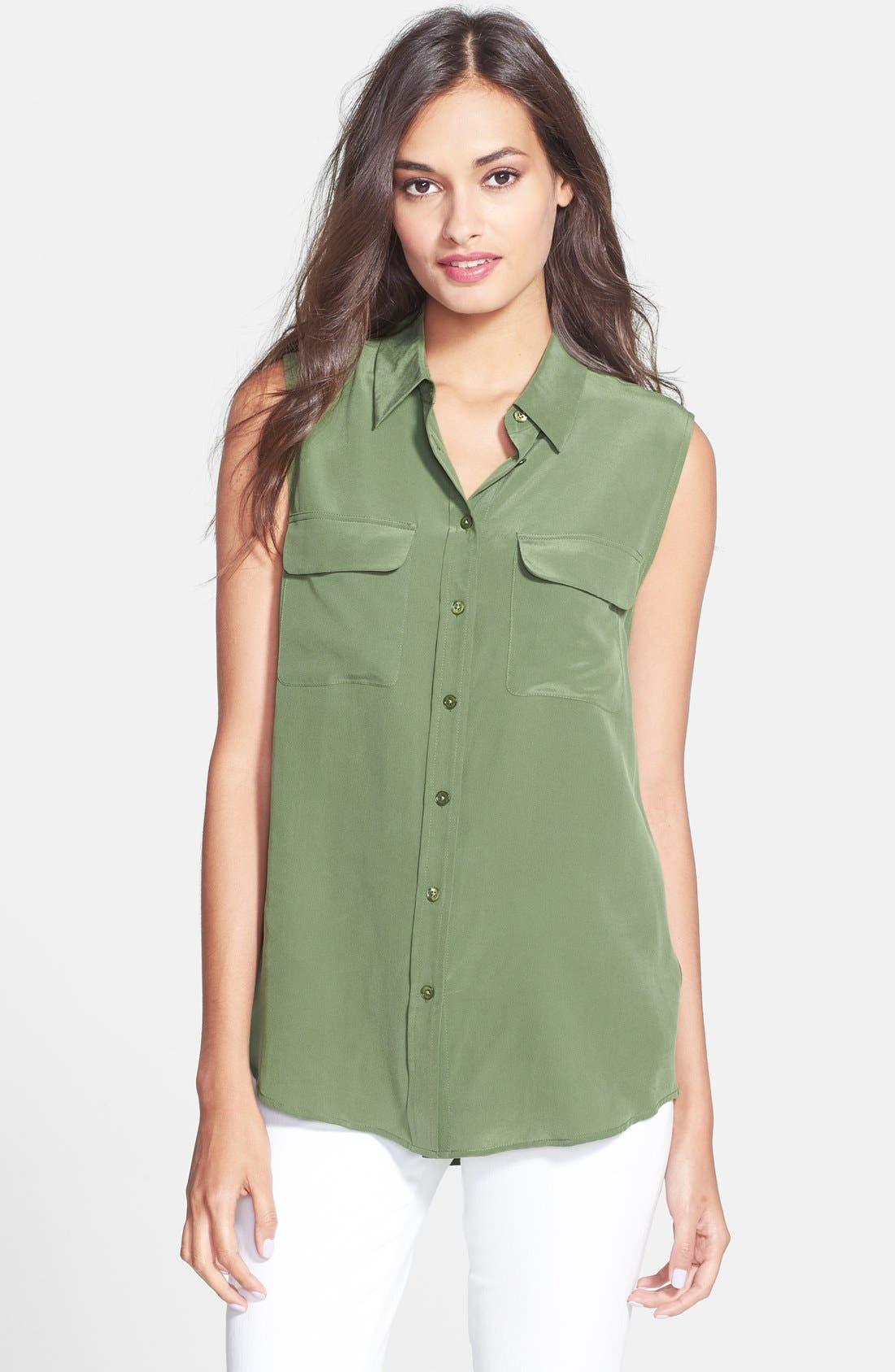 'Slim Signature' Sleeveless Silk Shirt,                             Main thumbnail 12, color,