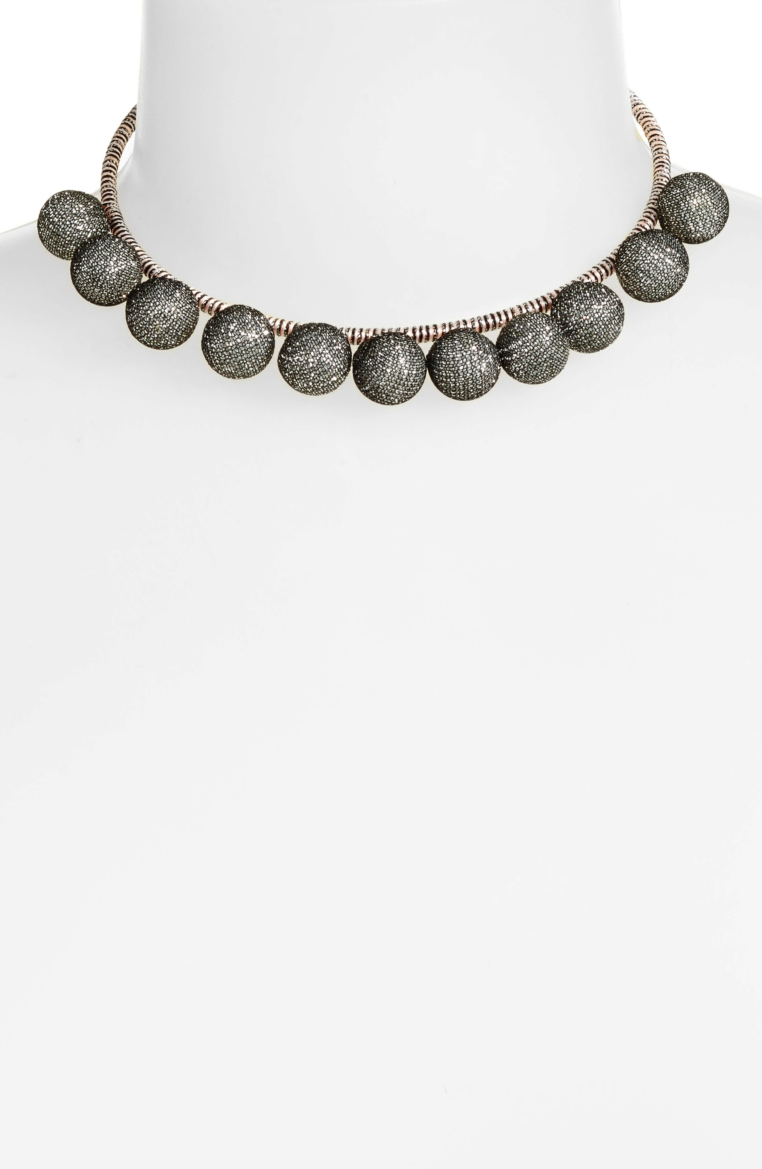 High Shine Pompom Collar Necklace,                             Alternate thumbnail 3, color,