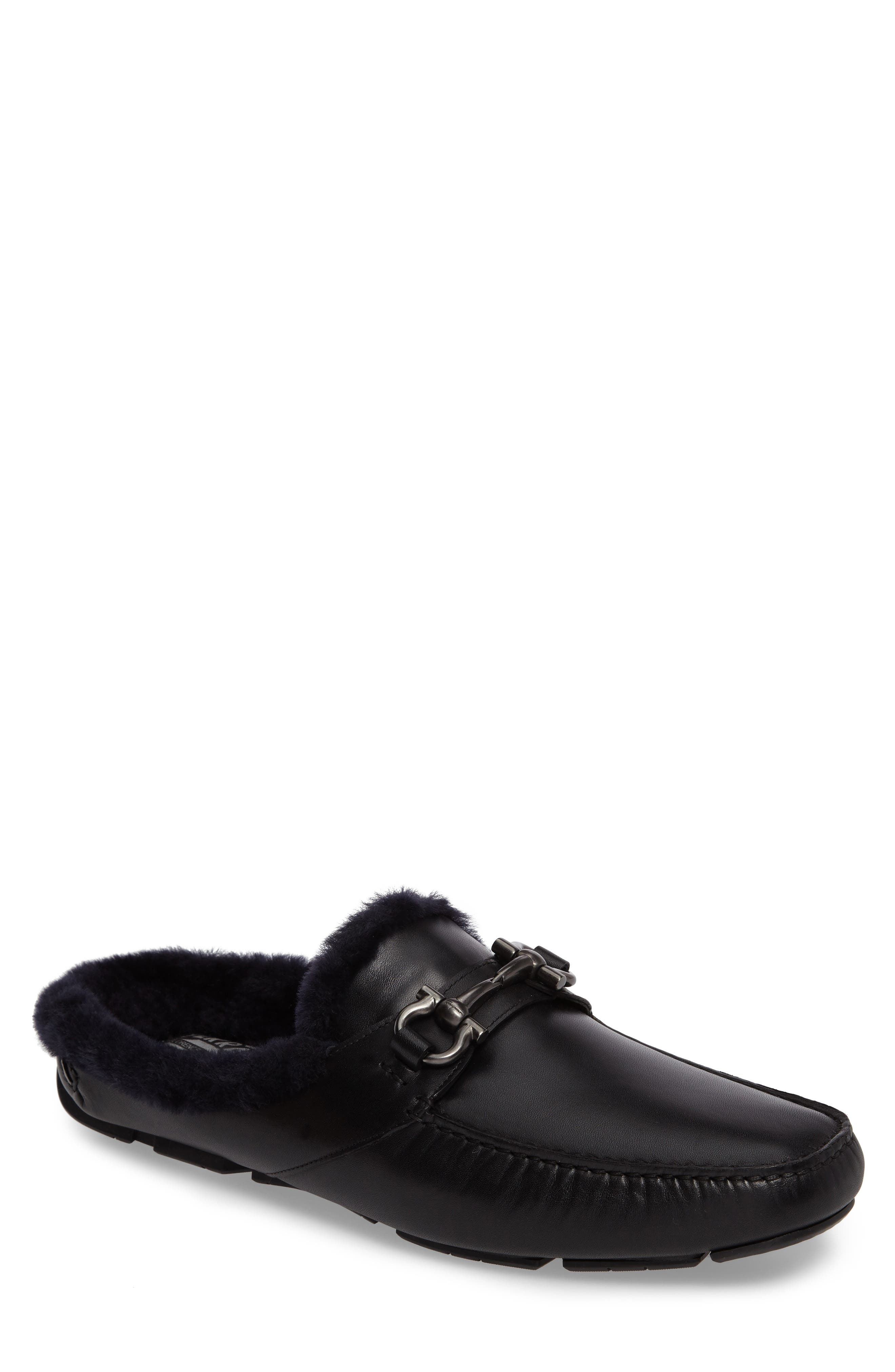 Driving Loafer with Genuine Shearling,                             Main thumbnail 1, color,                             001
