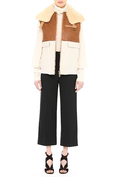 Alternate Video 8  - Chloé Genuine Shearling Trim Leather & Cotton Vest