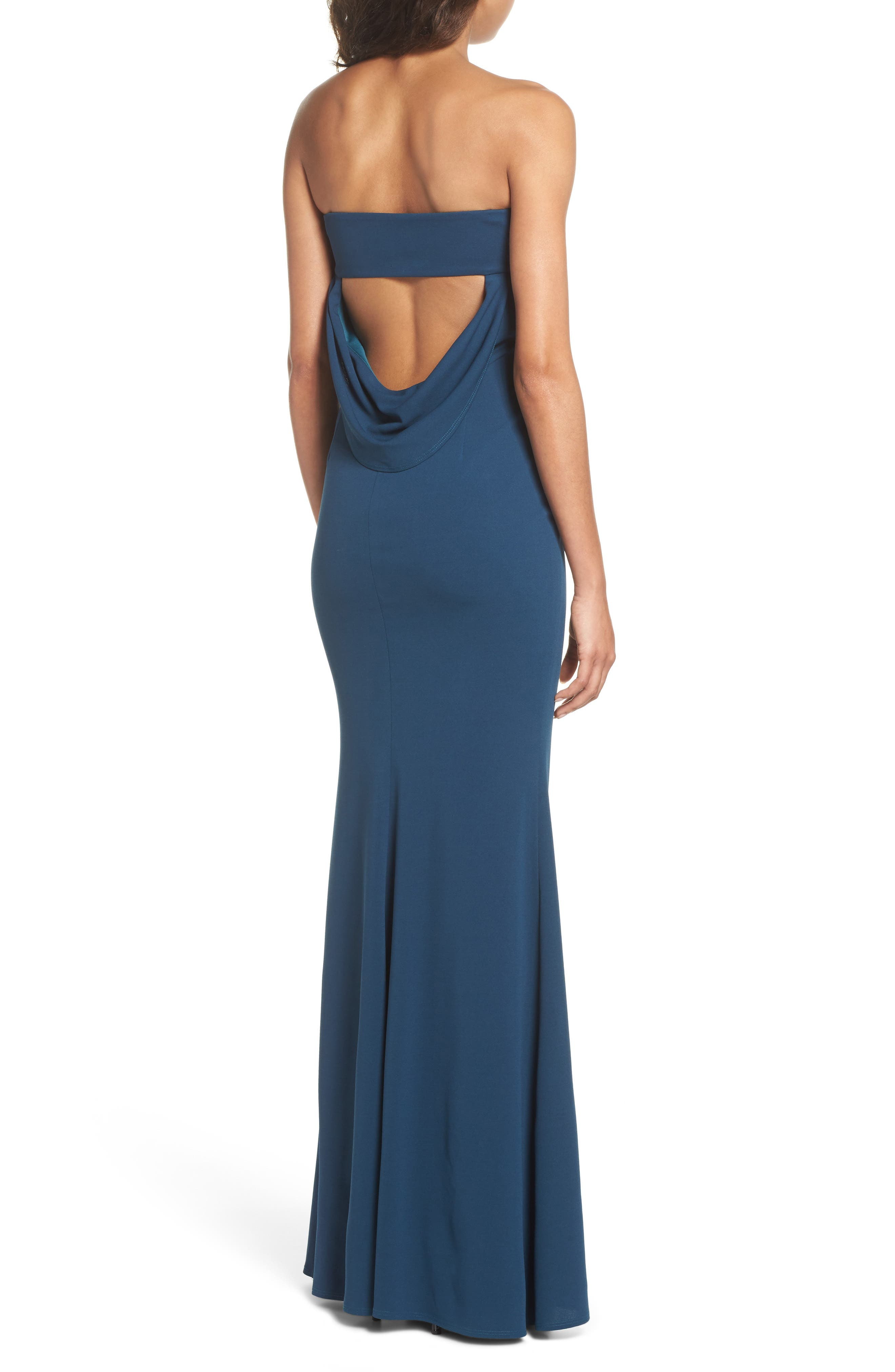 Mary Kate Strapless Cutout Back Gown,                             Alternate thumbnail 2, color,                             TEAL