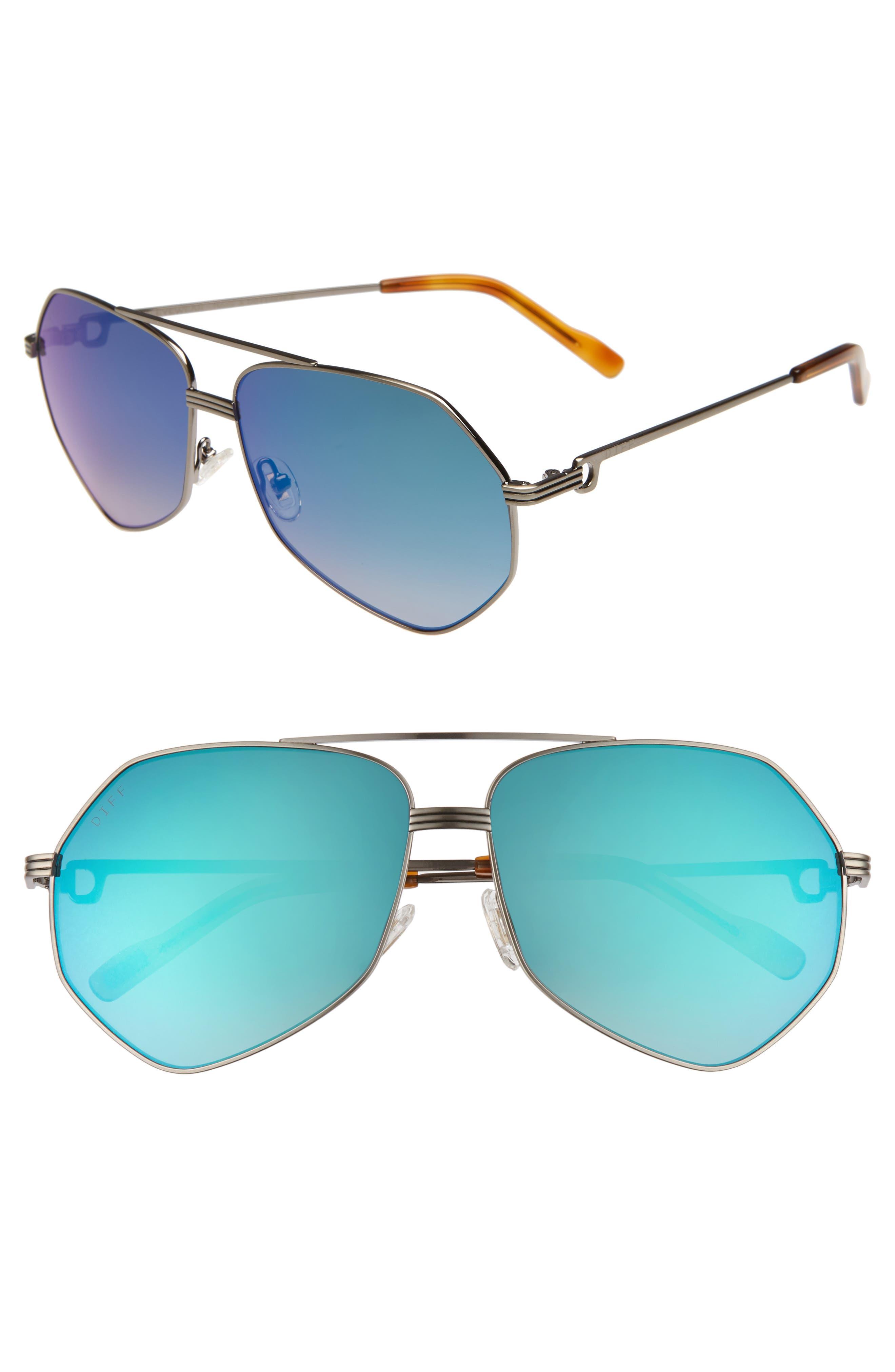 Sidney Geo Aviator Sunglasses,                         Main,                         color, LIGHT GUNMETAL/ HONEY/ BLUE