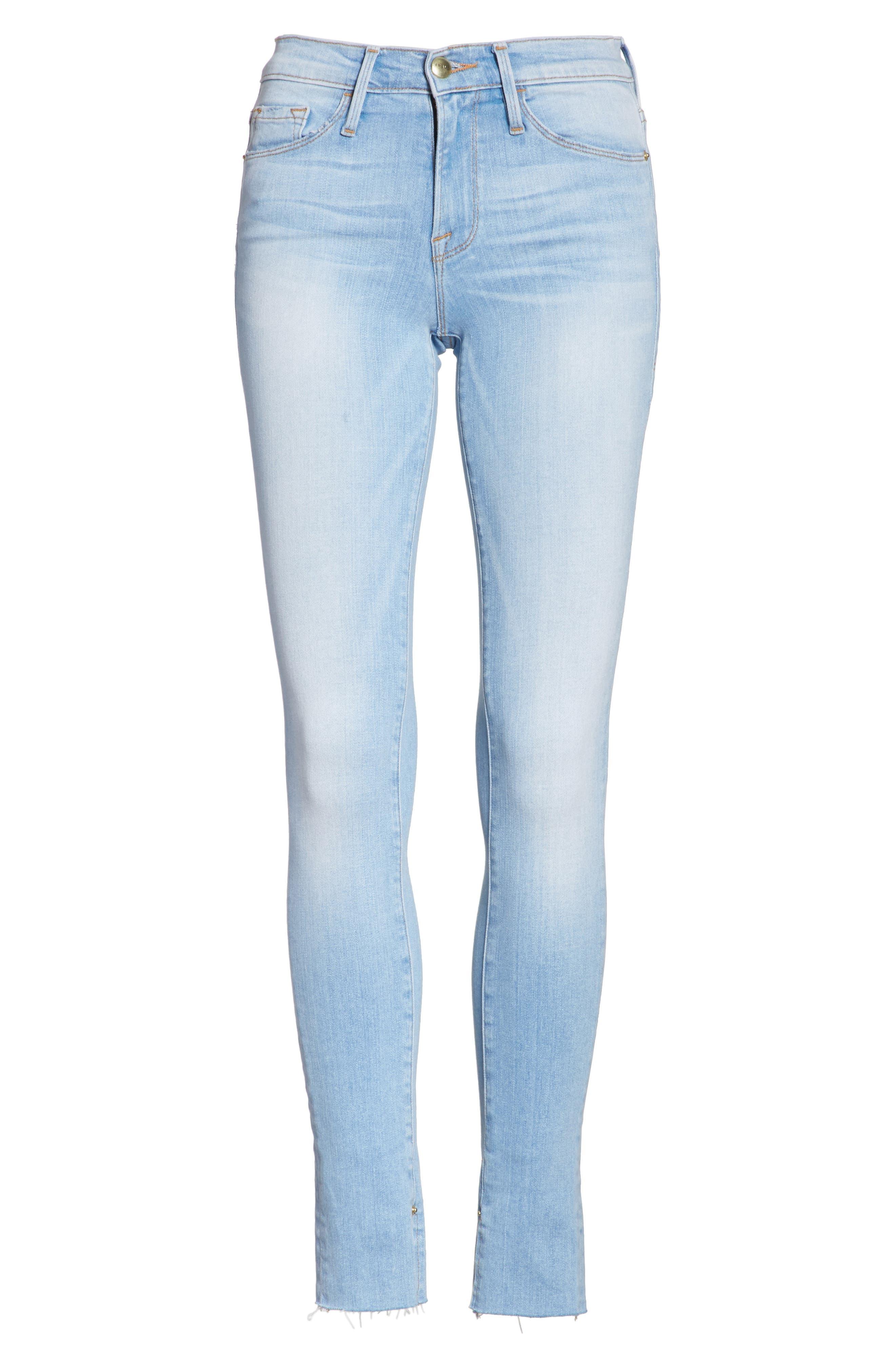 Le Skinny de Jeanne Raw Edge Skinny Jeans,                             Alternate thumbnail 6, color,                             450