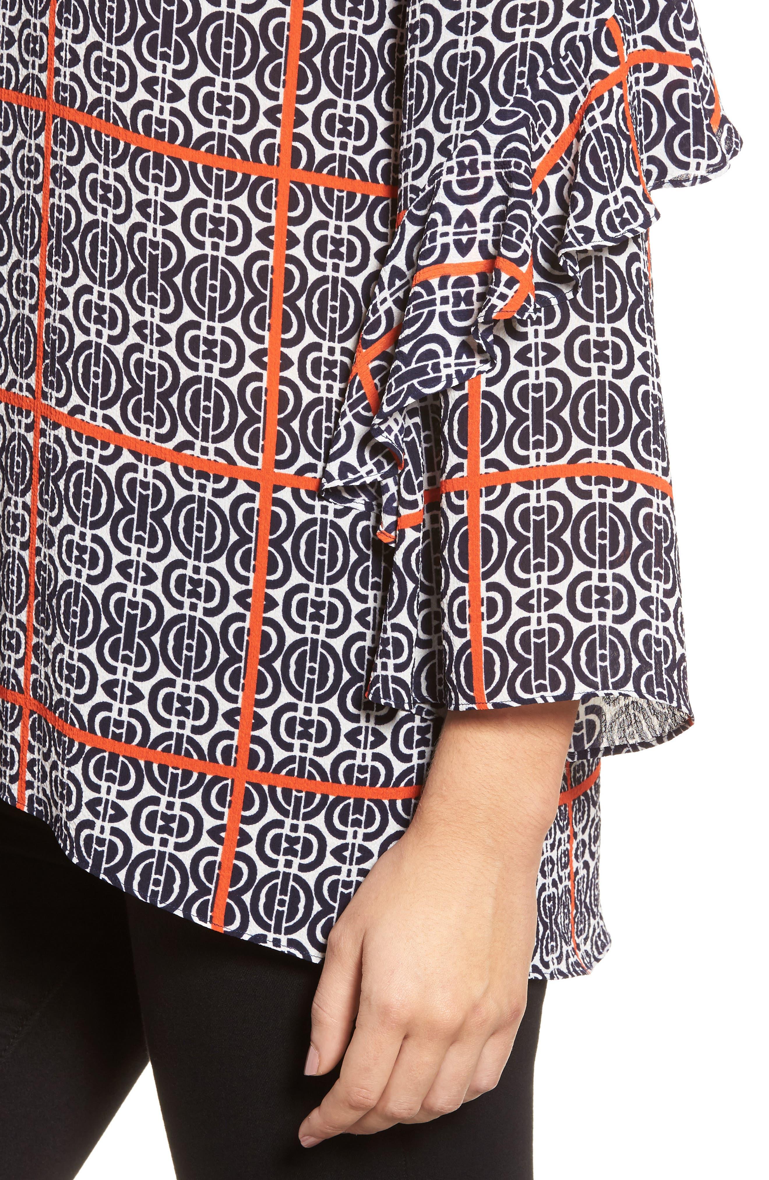 Printed Ruffle Sleeve Blouse,                             Alternate thumbnail 4, color,                             903