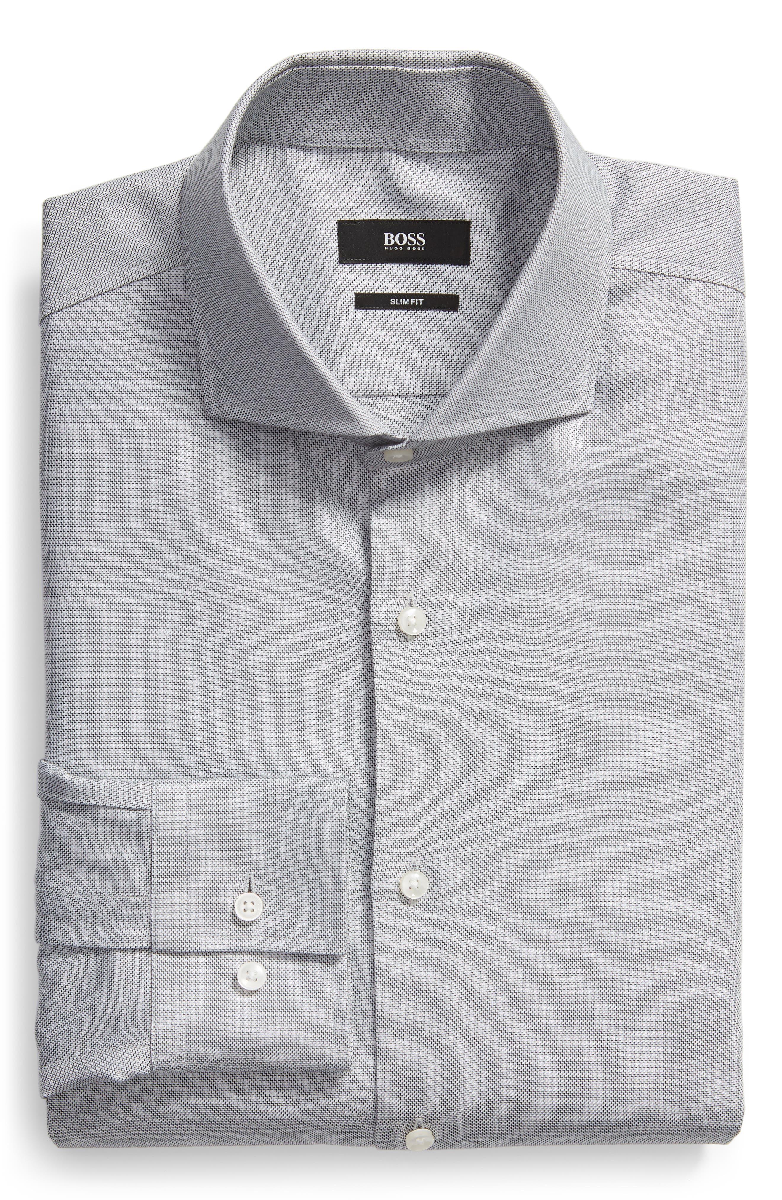 Jason Trim Fit Solid Dress Shirt,                             Alternate thumbnail 5, color,                             BLACK