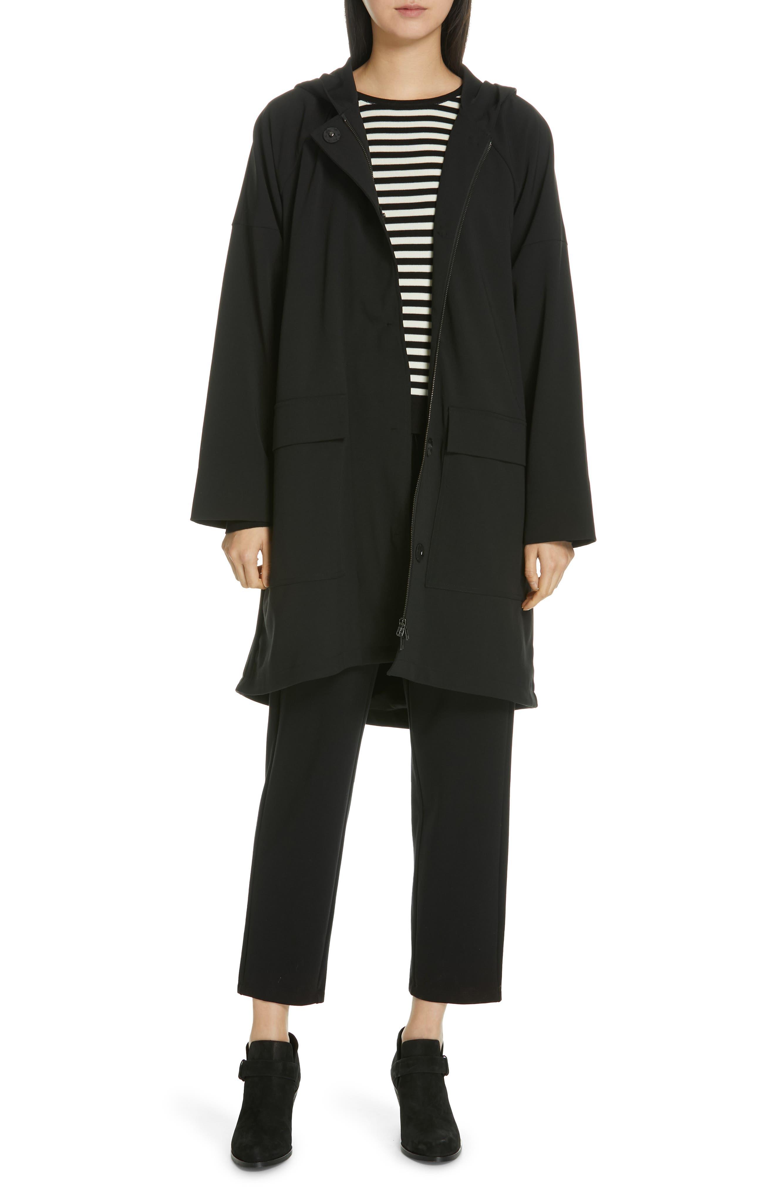 Tencel<sup>®</sup> Lyocell & Silk Sweater,                             Alternate thumbnail 7, color,                             BLACK/ SOFT WHITE