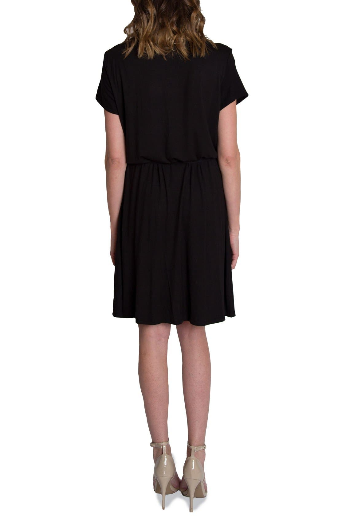 'Chic' Cowl Neck Nursing Dress,                             Alternate thumbnail 6, color,                             BLACK