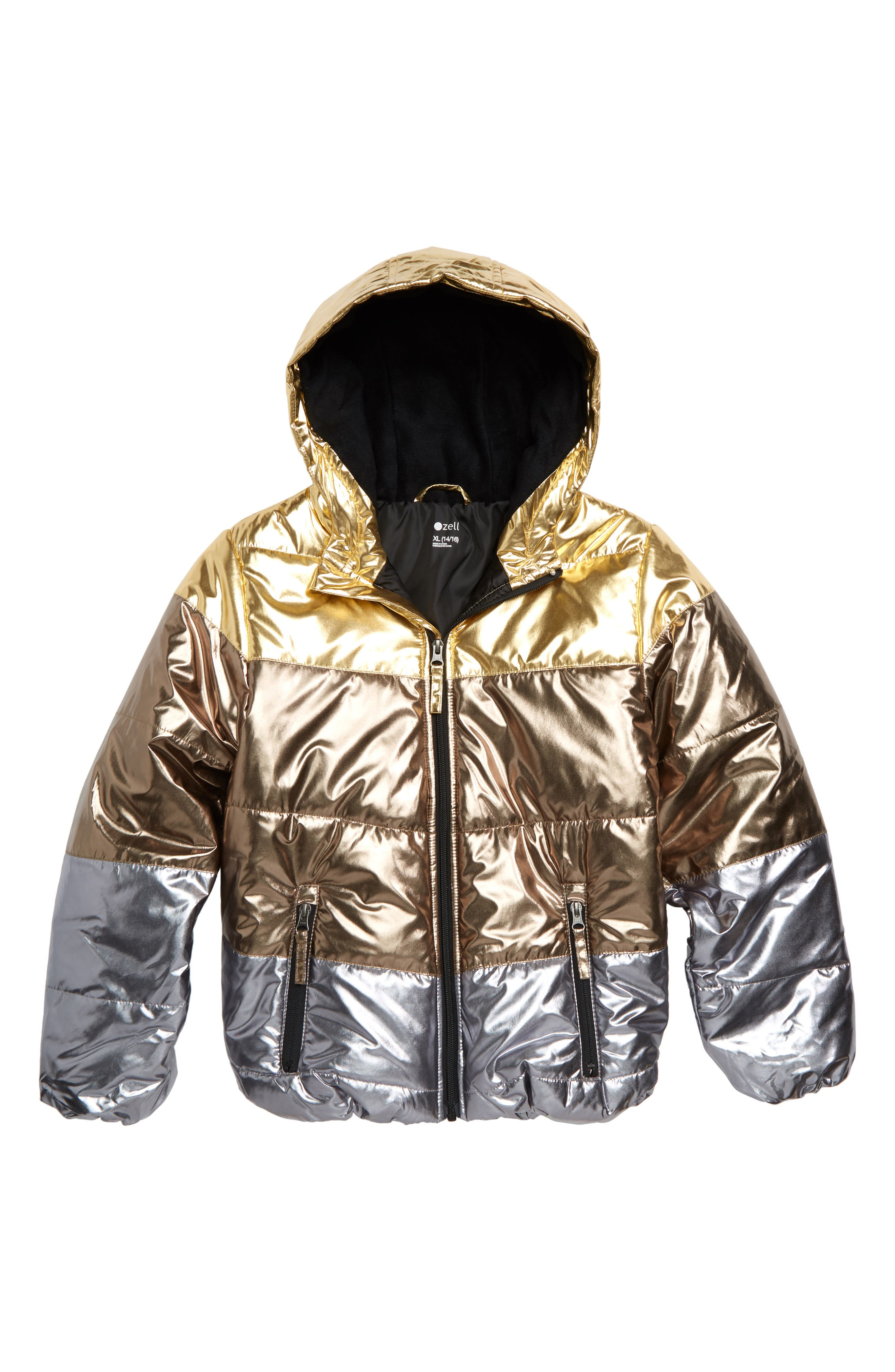 Metallic Hooded Puffer Jacket,                             Main thumbnail 1, color,                             GOLD METALLIC