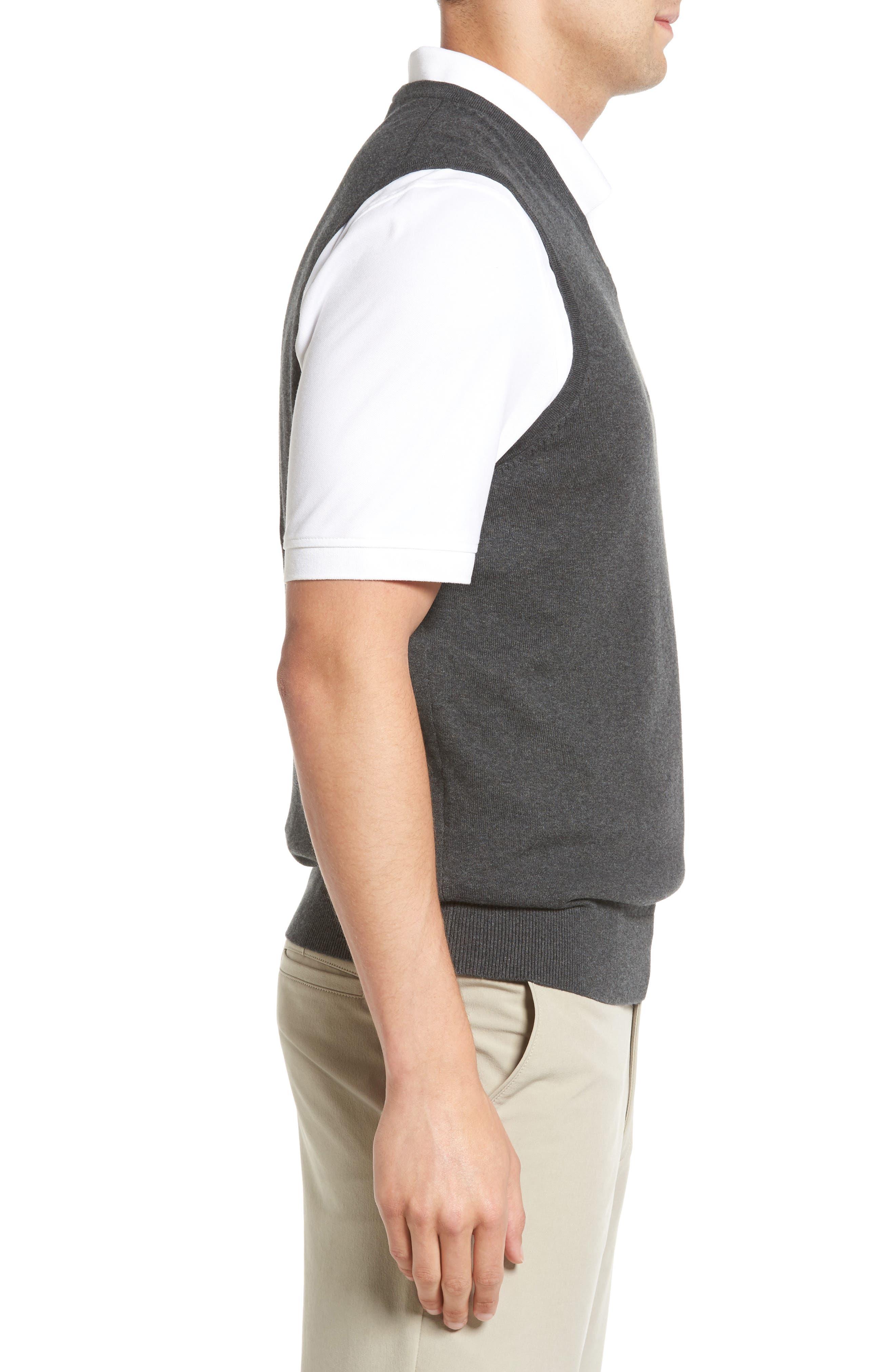 Lakemont V-Neck Sweater Vest,                             Alternate thumbnail 3, color,                             CHARCOAL HEATHER
