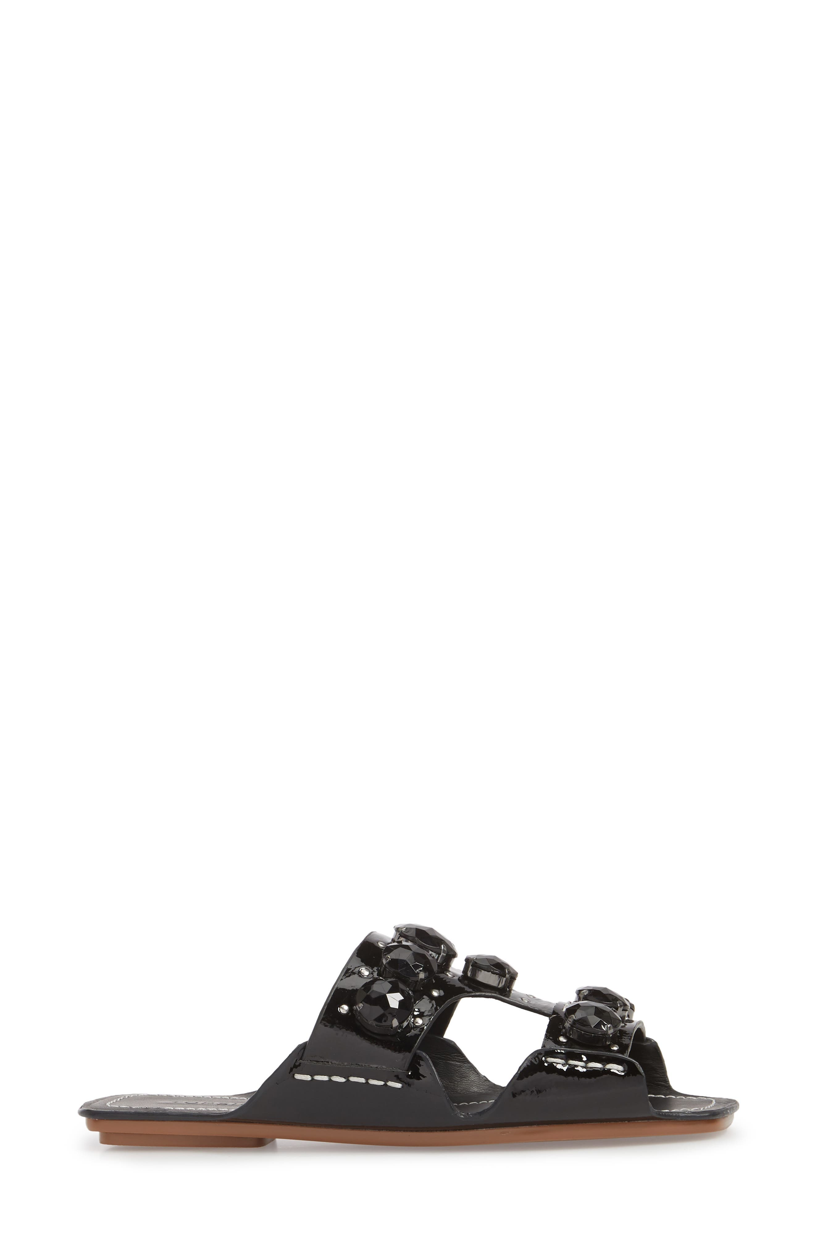 Fascinate Gem Slide Sandal,                             Alternate thumbnail 3, color,                             BLACK