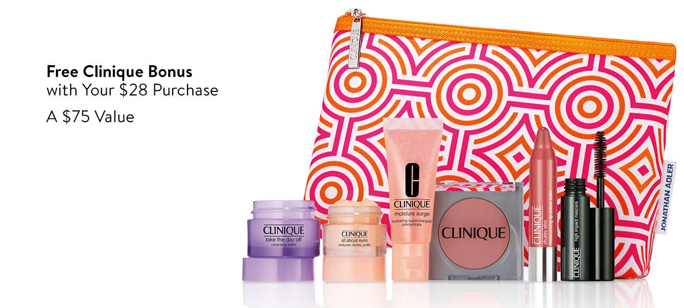 Free seven-piece bonus with $28 Clinique purchase. A $75 value.
