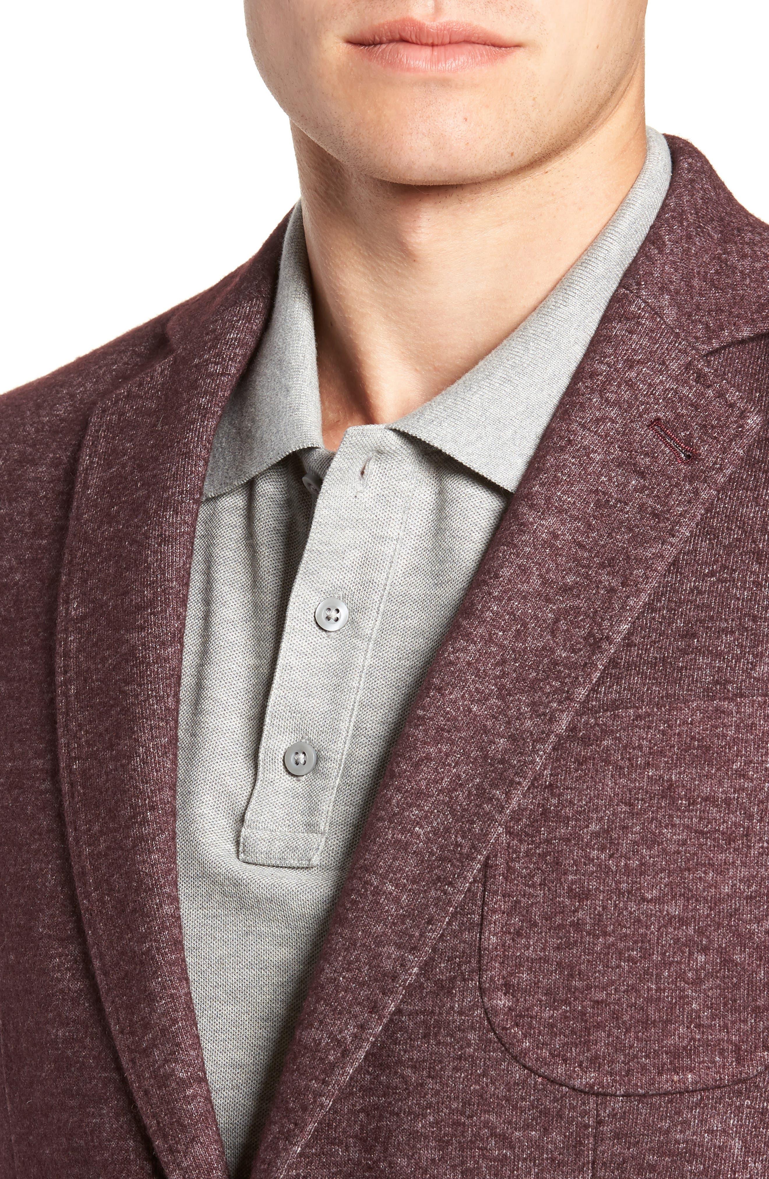 Regular Fit Knit Wool Blend Sport Coat,                             Alternate thumbnail 4, color,                             PORT