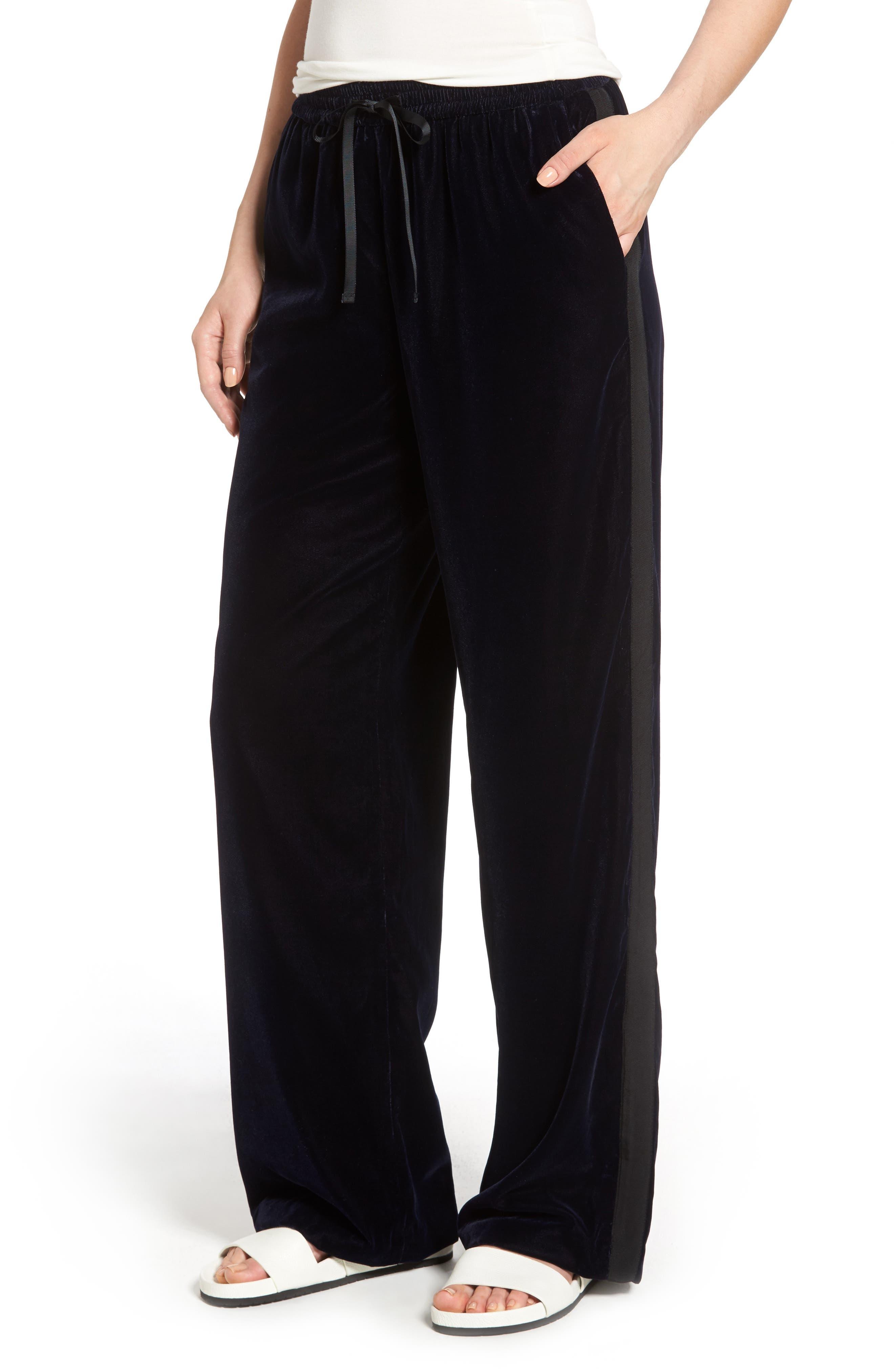 Velvet Track Pants,                         Main,                         color,