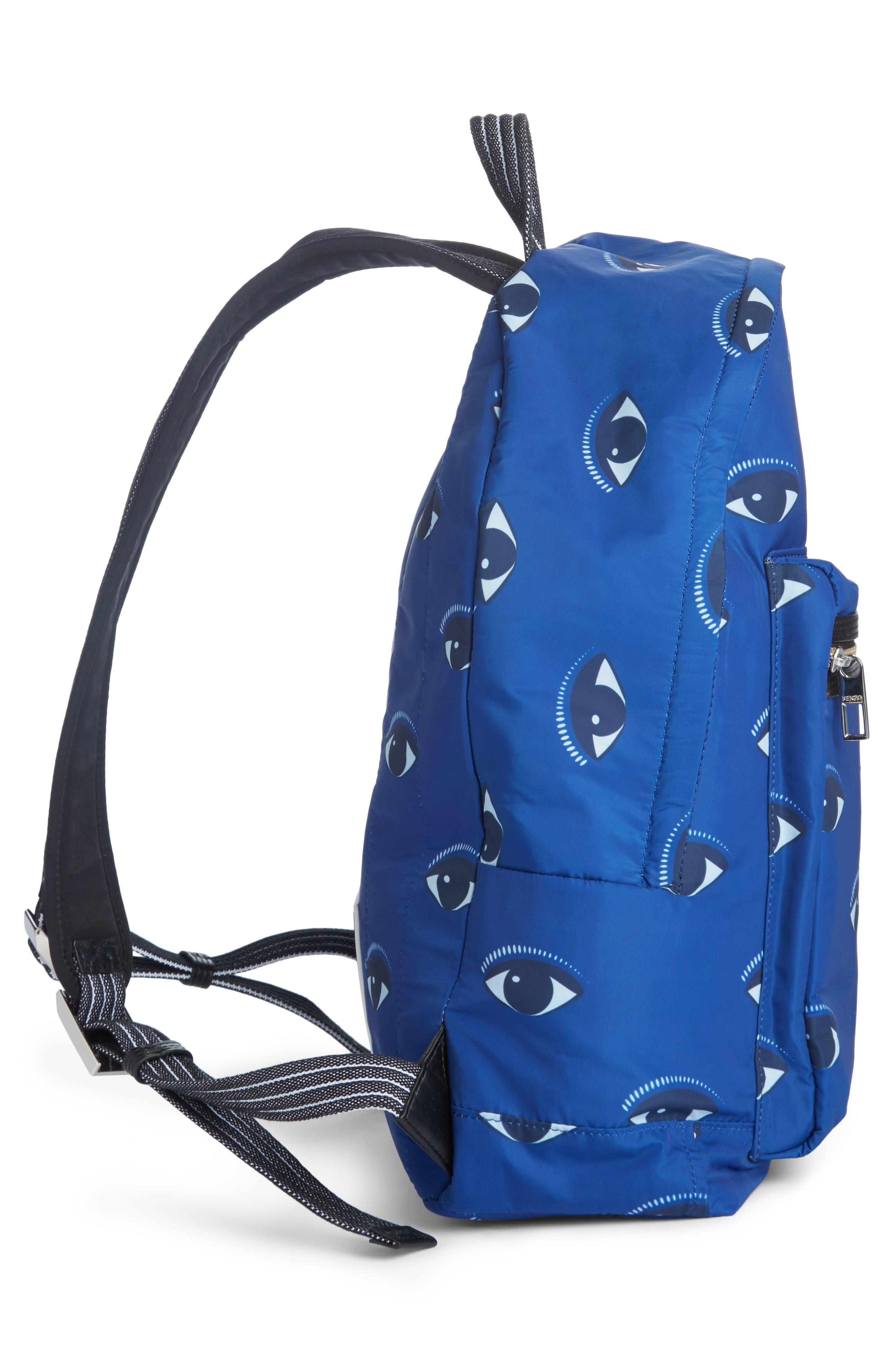 'Eyes' Nylon Backpack,                             Alternate thumbnail 3, color,                             DEEP SEA BLUE