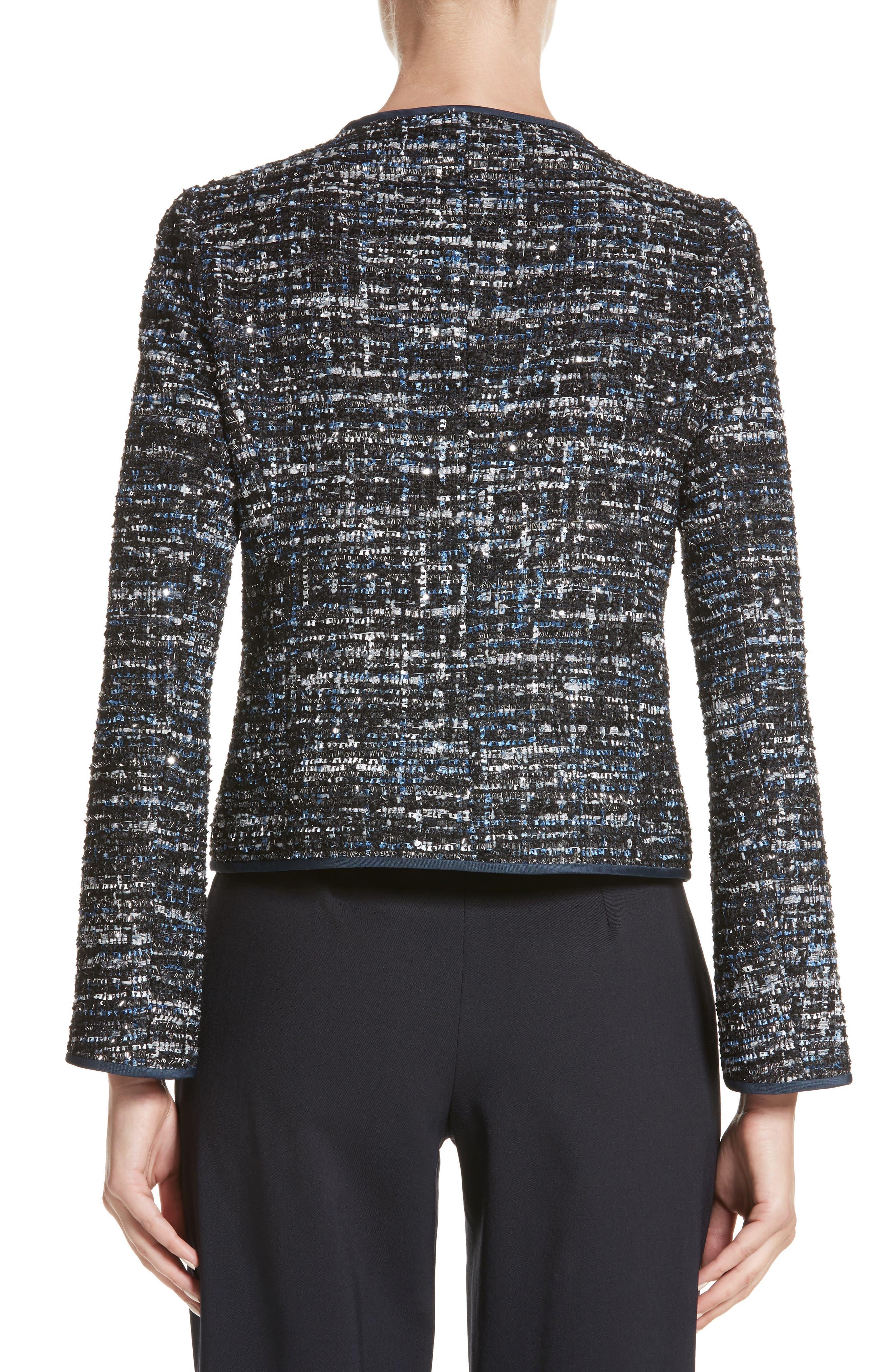 Sequin Tweed Jacket,                             Alternate thumbnail 2, color,                             001