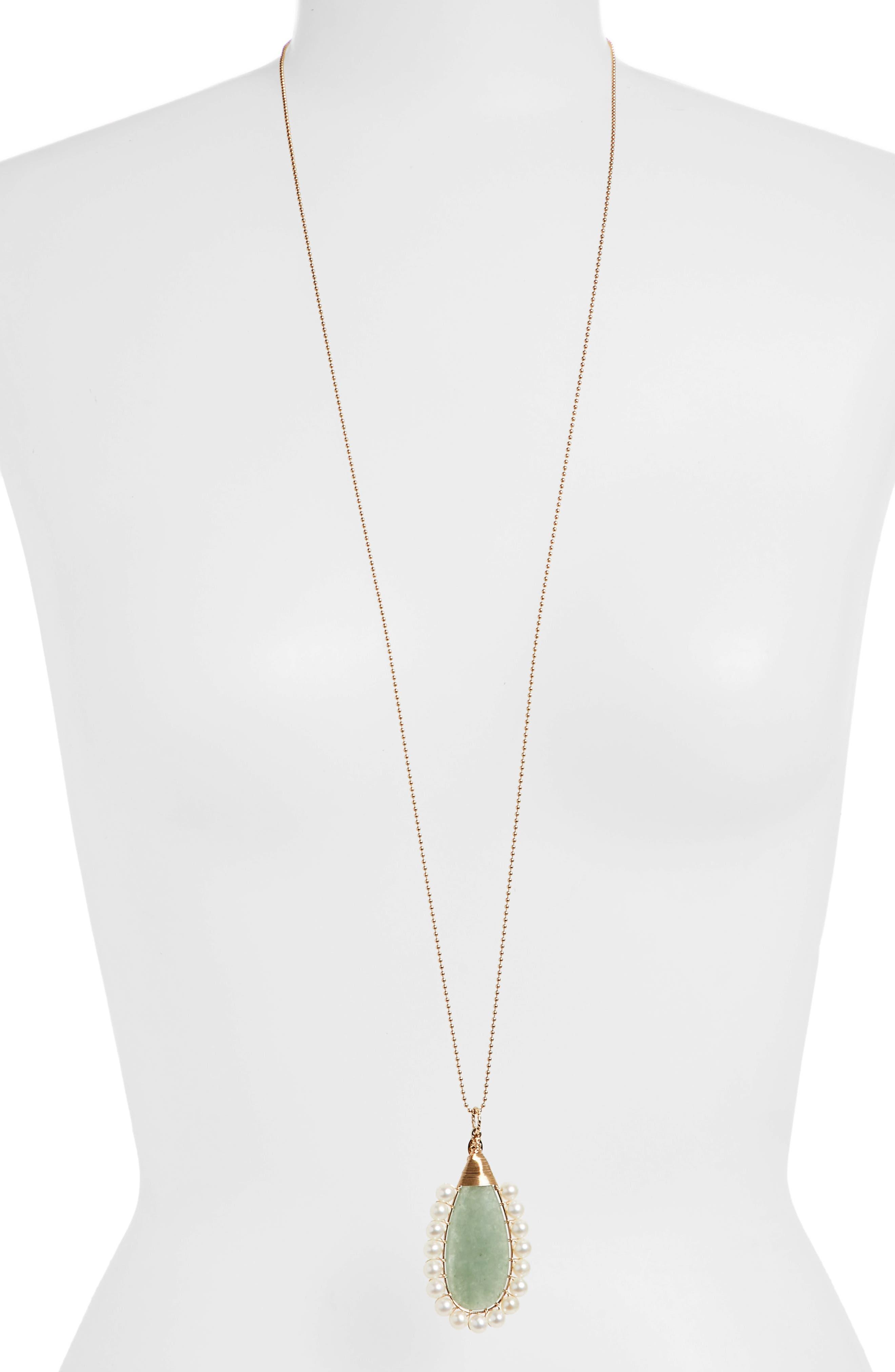 Lolita Green Aventurine & Freshwater Pearl Pendant Necklace,                             Alternate thumbnail 2, color,                             300