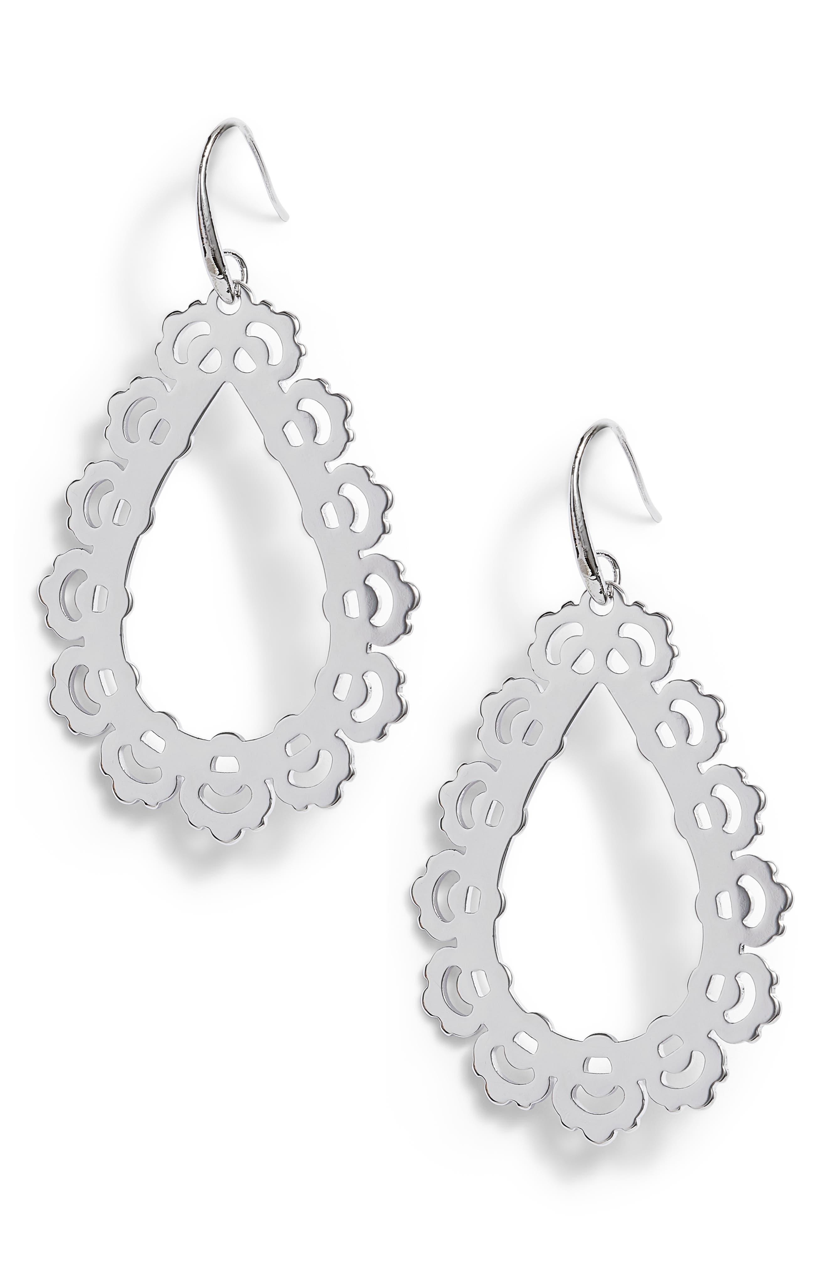 Filigree Open Teardrop Earrings,                             Main thumbnail 1, color,                             040