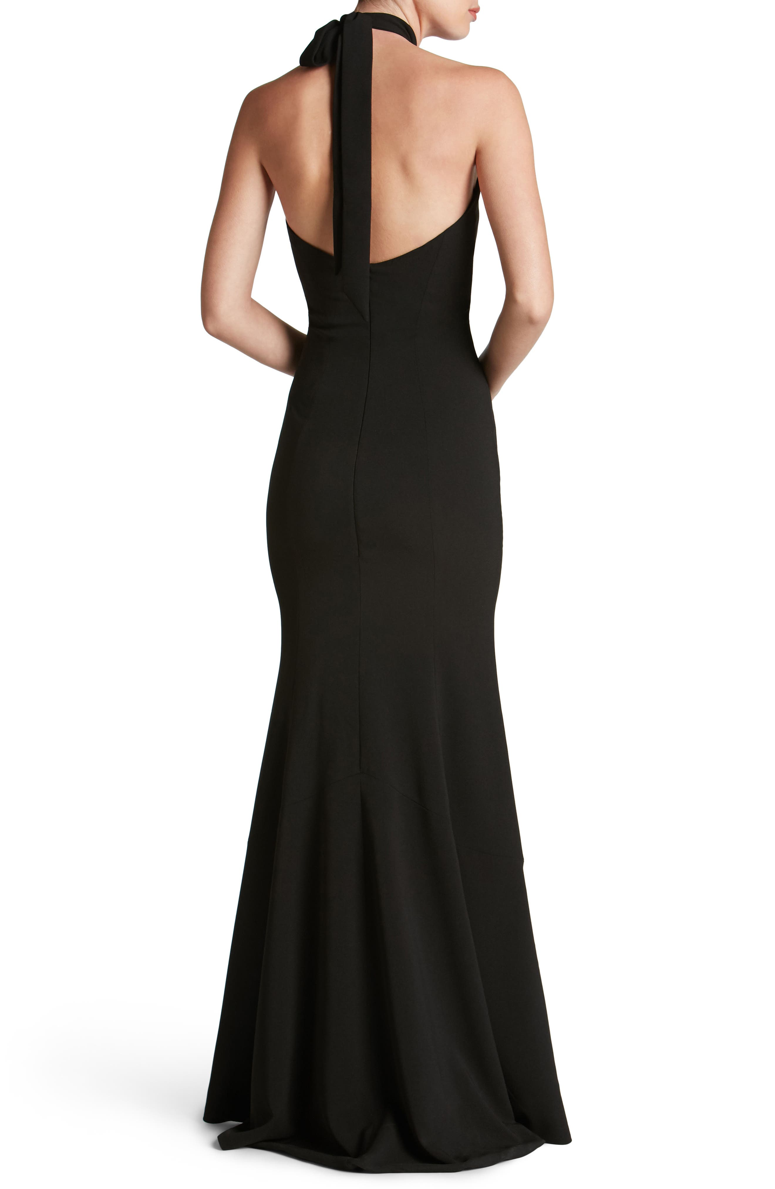 Taylor Crepe Halter Gown,                             Alternate thumbnail 2, color,                             001