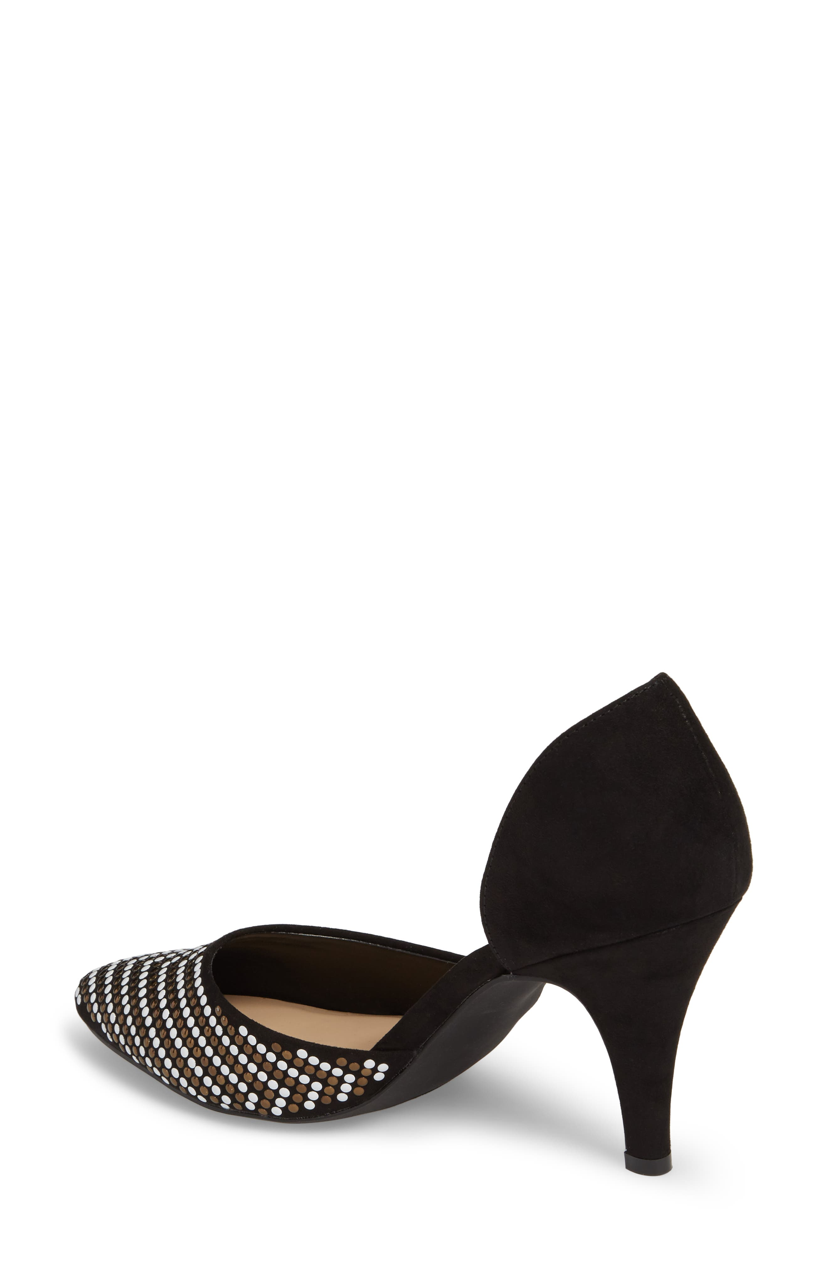 Mimosa Studded d'Orsay Pump,                             Alternate thumbnail 2, color,                             BLACK SUEDE
