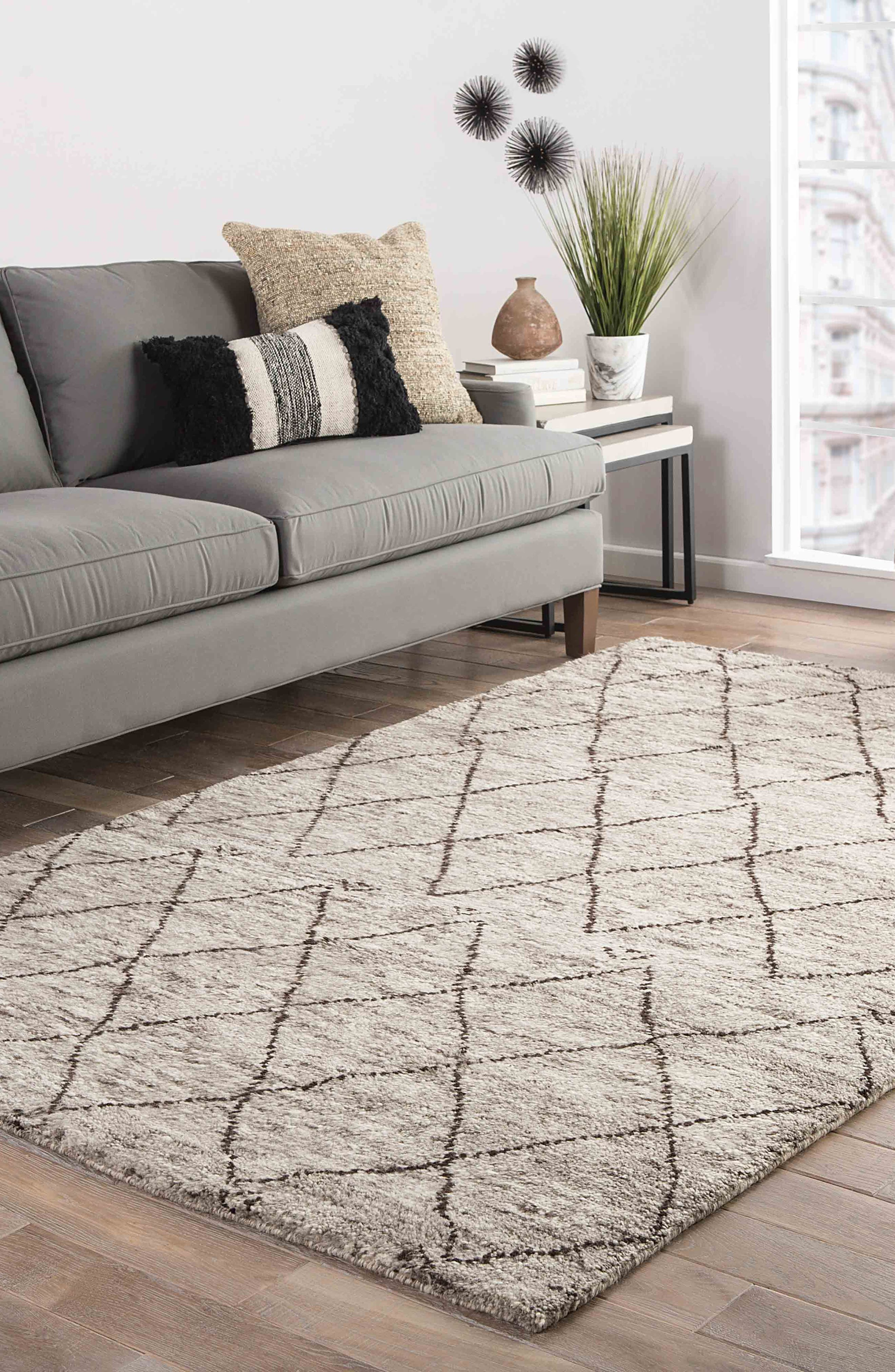 'Zola' Hand Knotted Wool Rug,                             Alternate thumbnail 6, color,                             NATURAL/ BROWN