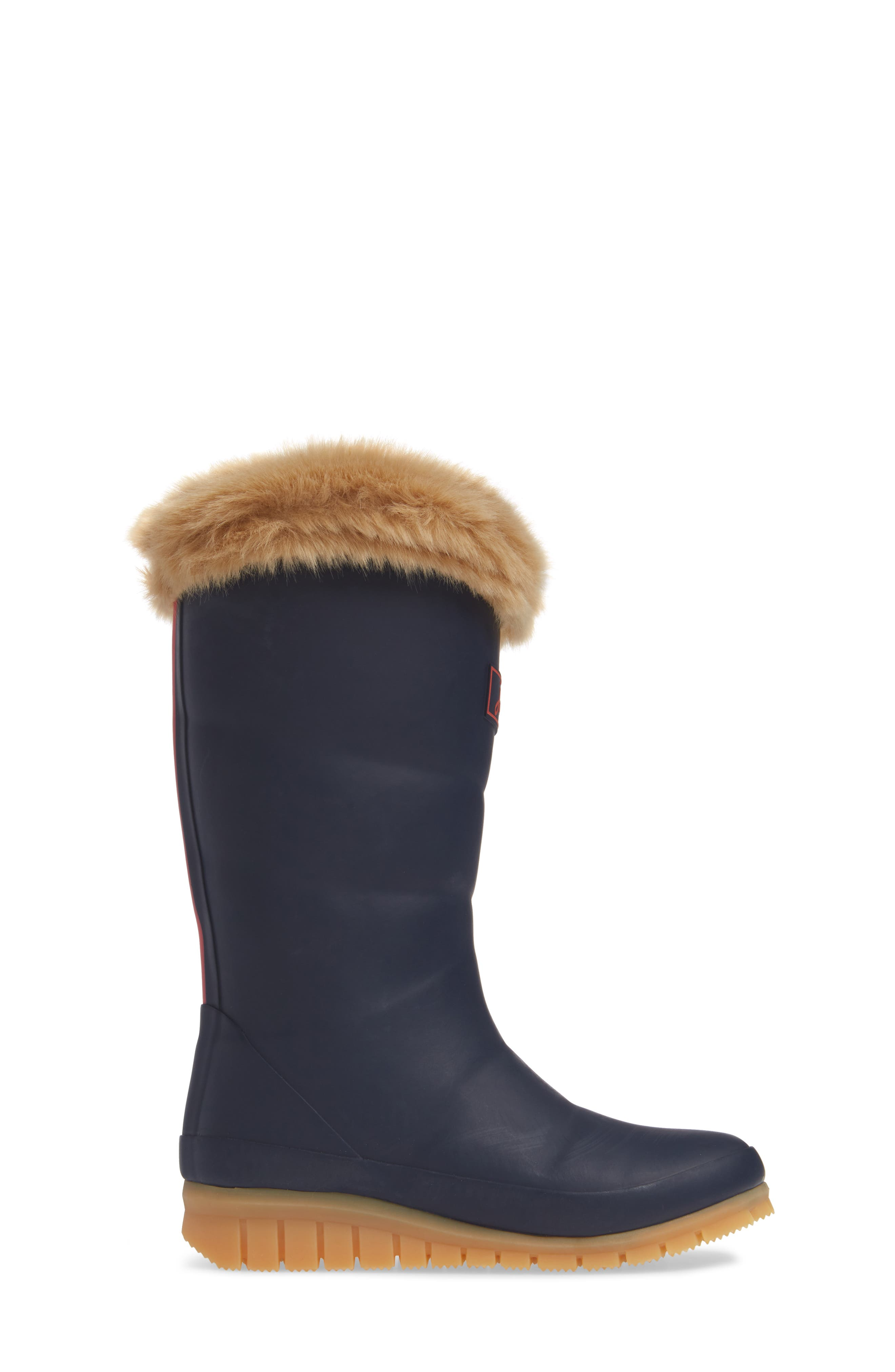 Padded Welly Waterproof Rain Boot with Faux Fur Trim,                             Alternate thumbnail 3, color,                             FRENCH NAVY