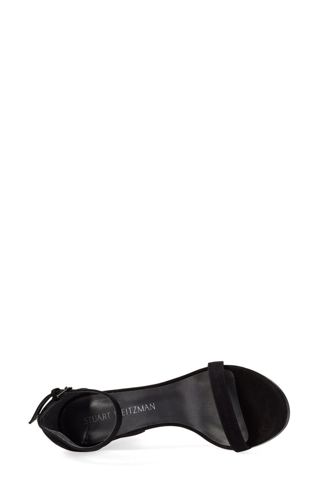 Simple Ankle Strap Sandal,                             Alternate thumbnail 9, color,                             BLACK SUEDE