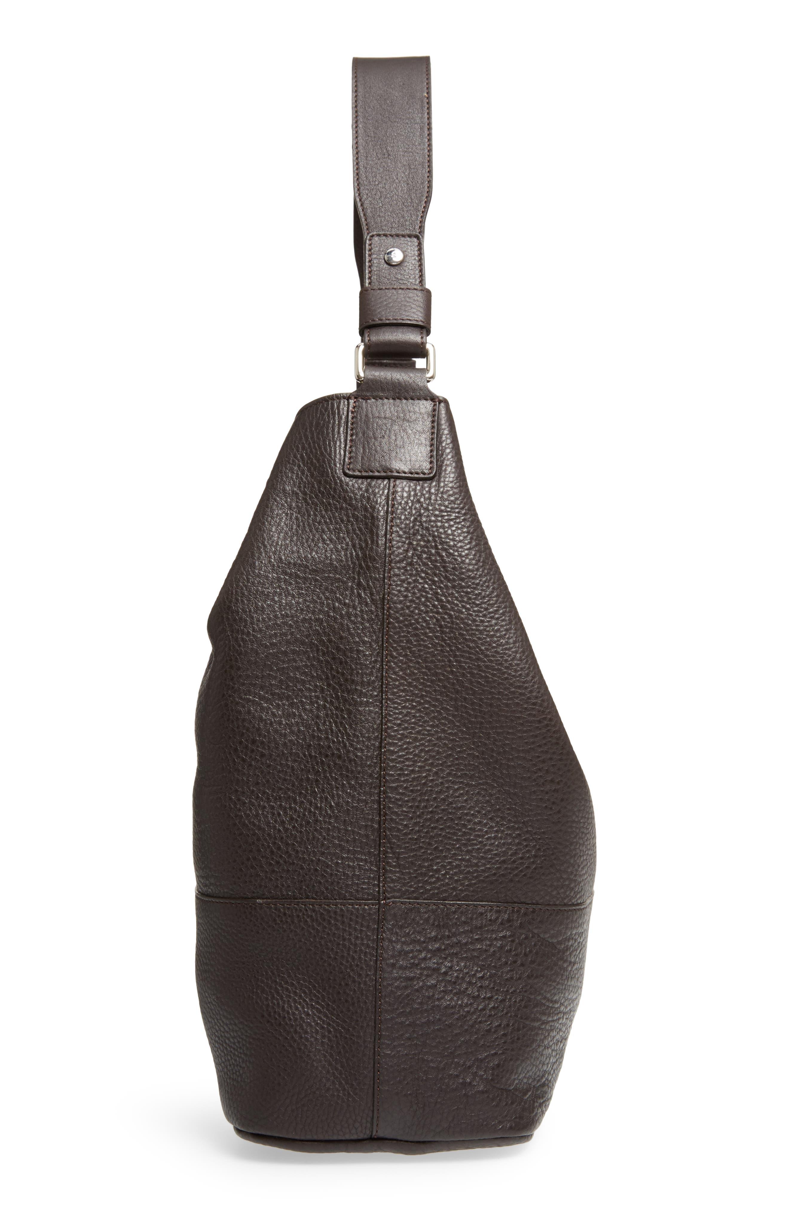 Relaxed Calfskin Leather Hobo Bag,                             Alternate thumbnail 5, color,                             240