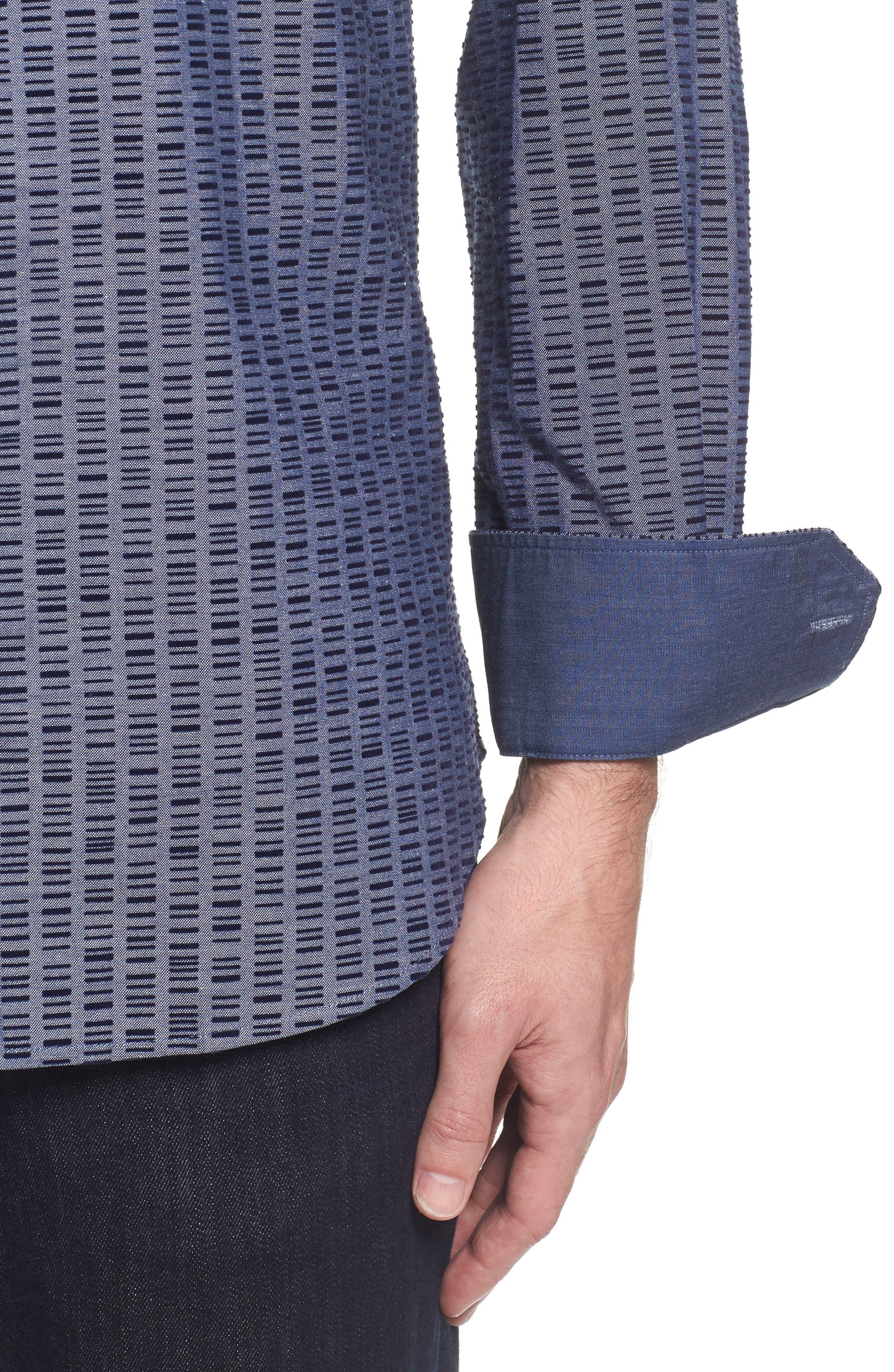 Slim Fit Flock Print Sport Shirt,                             Alternate thumbnail 4, color,