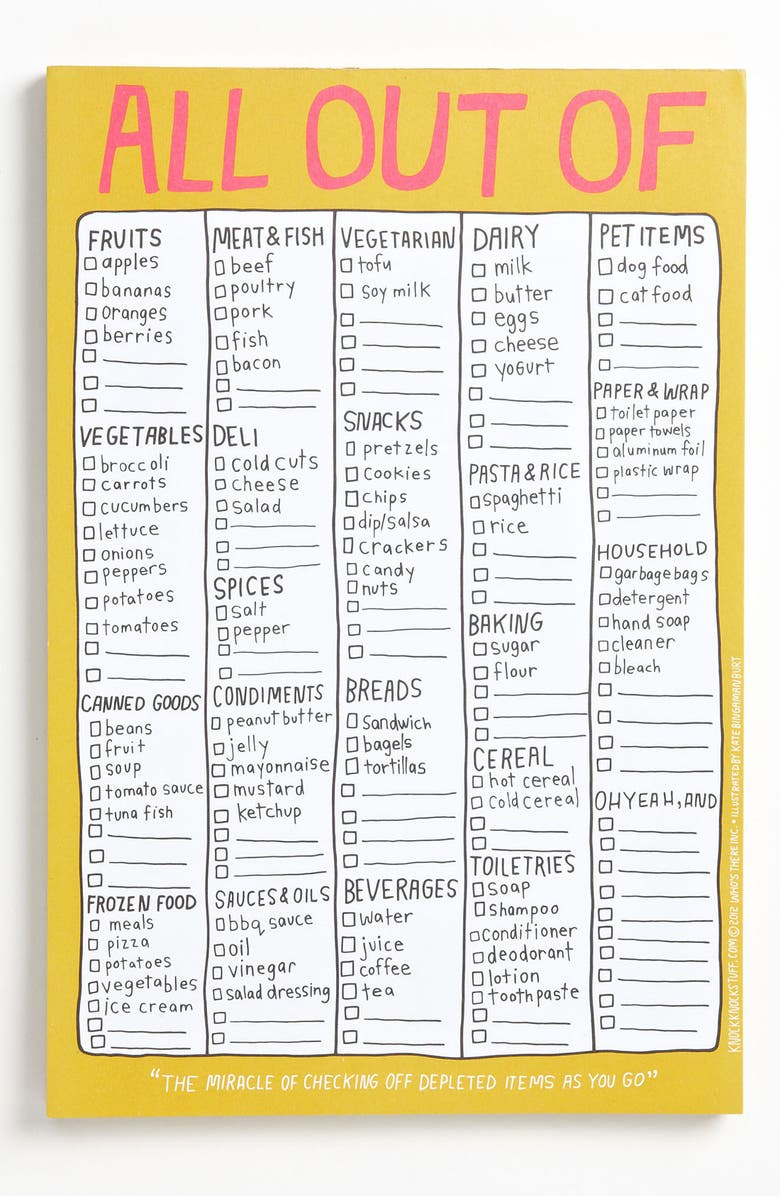 knock knock all out of grocery list notepad nordstrom