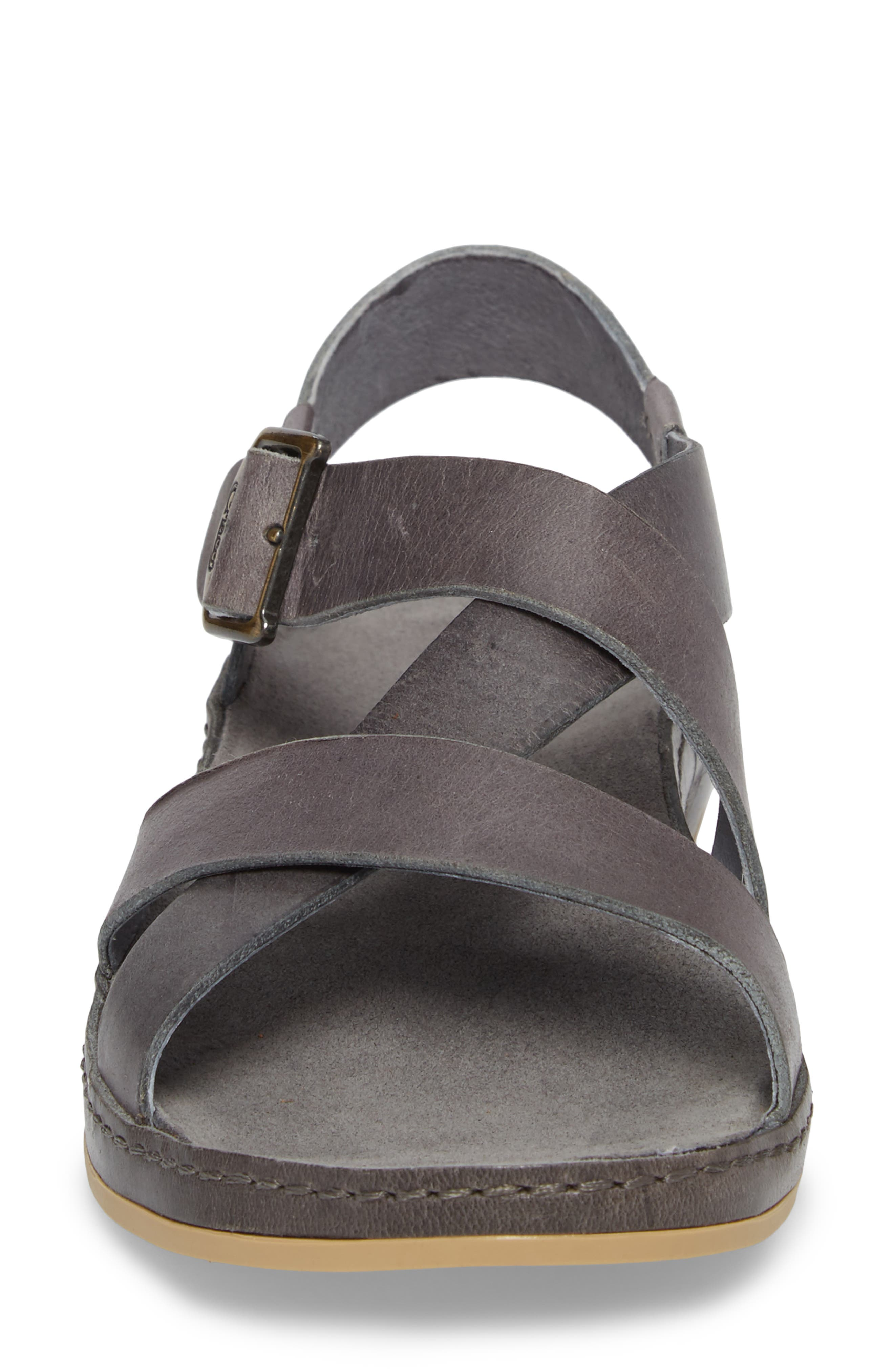 Strappy Sandal,                             Alternate thumbnail 4, color,                             GREY LEATHER