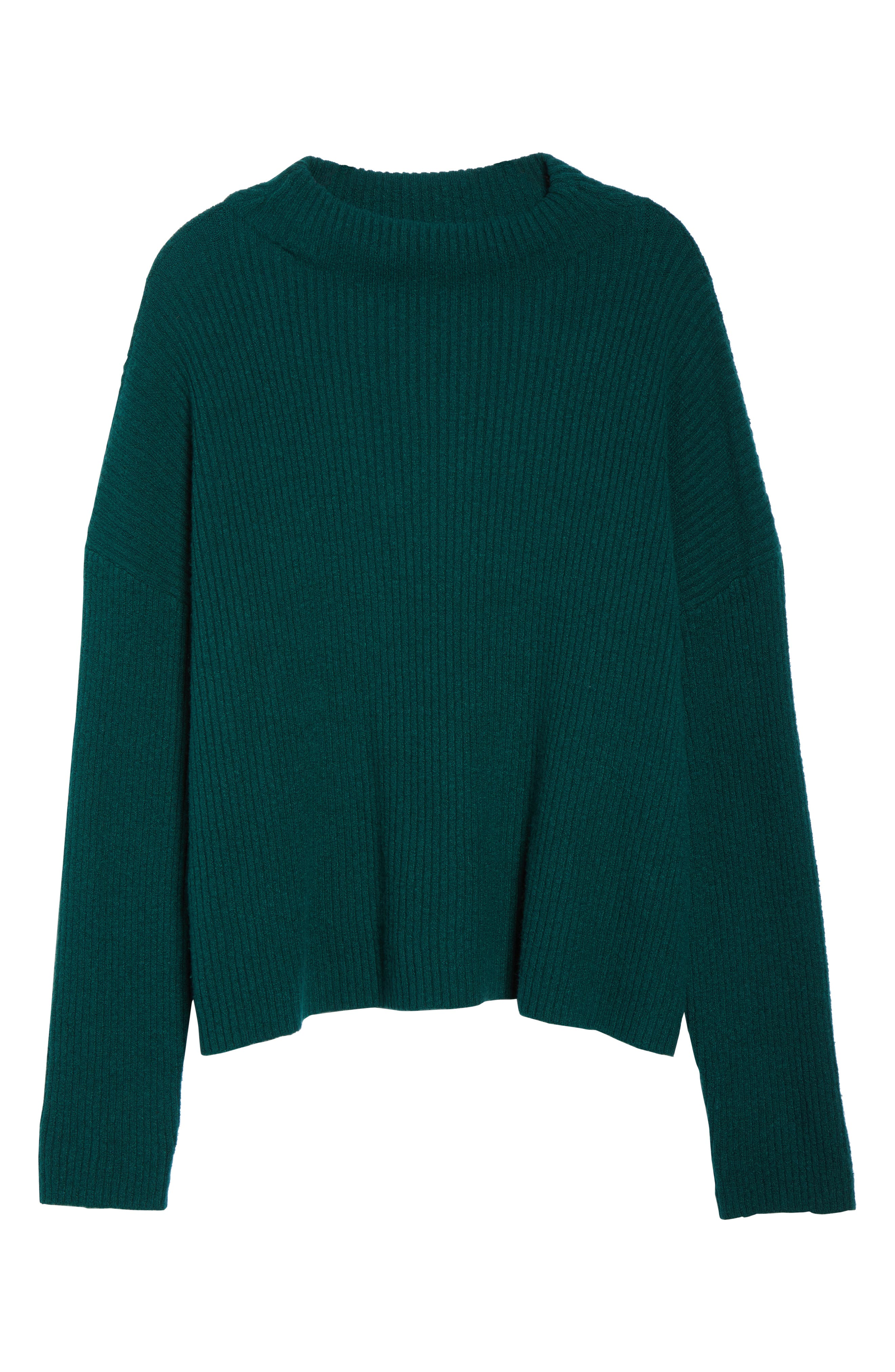 Ribbed Funnel Neck Sweater,                             Alternate thumbnail 6, color,                             GREEN BOTANICAL
