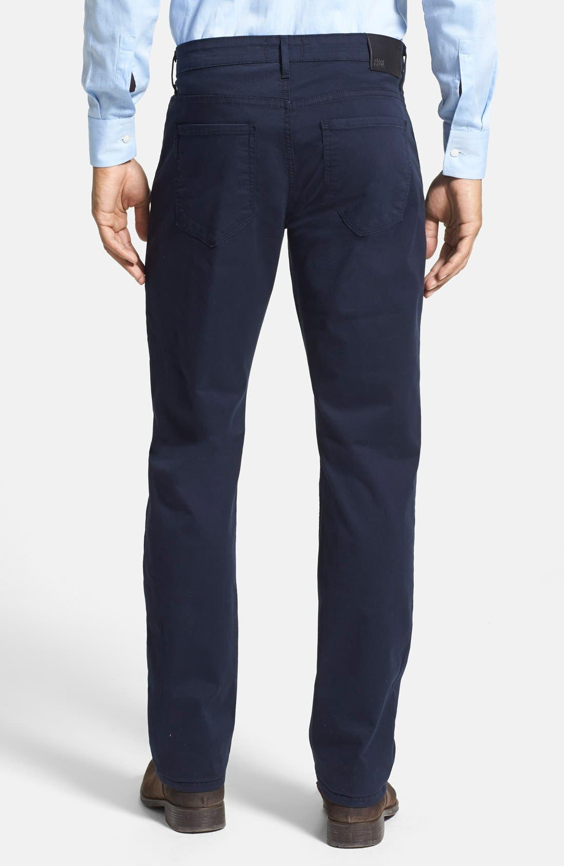 Normandie Slim Straight Leg Twill Pants,                             Alternate thumbnail 3, color,                             NAVY CADET