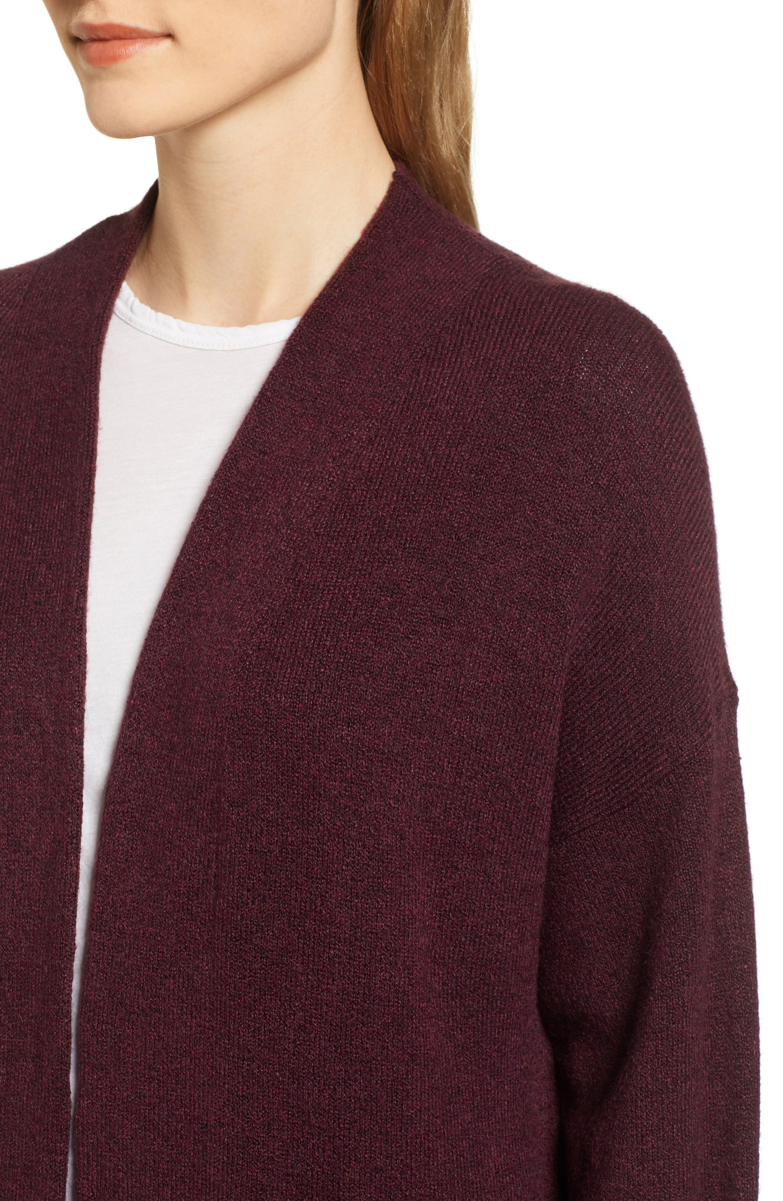 Pocket Sweater Coat,                             Alternate thumbnail 4, color,                             BURGUNDY TO MATCH DRESS