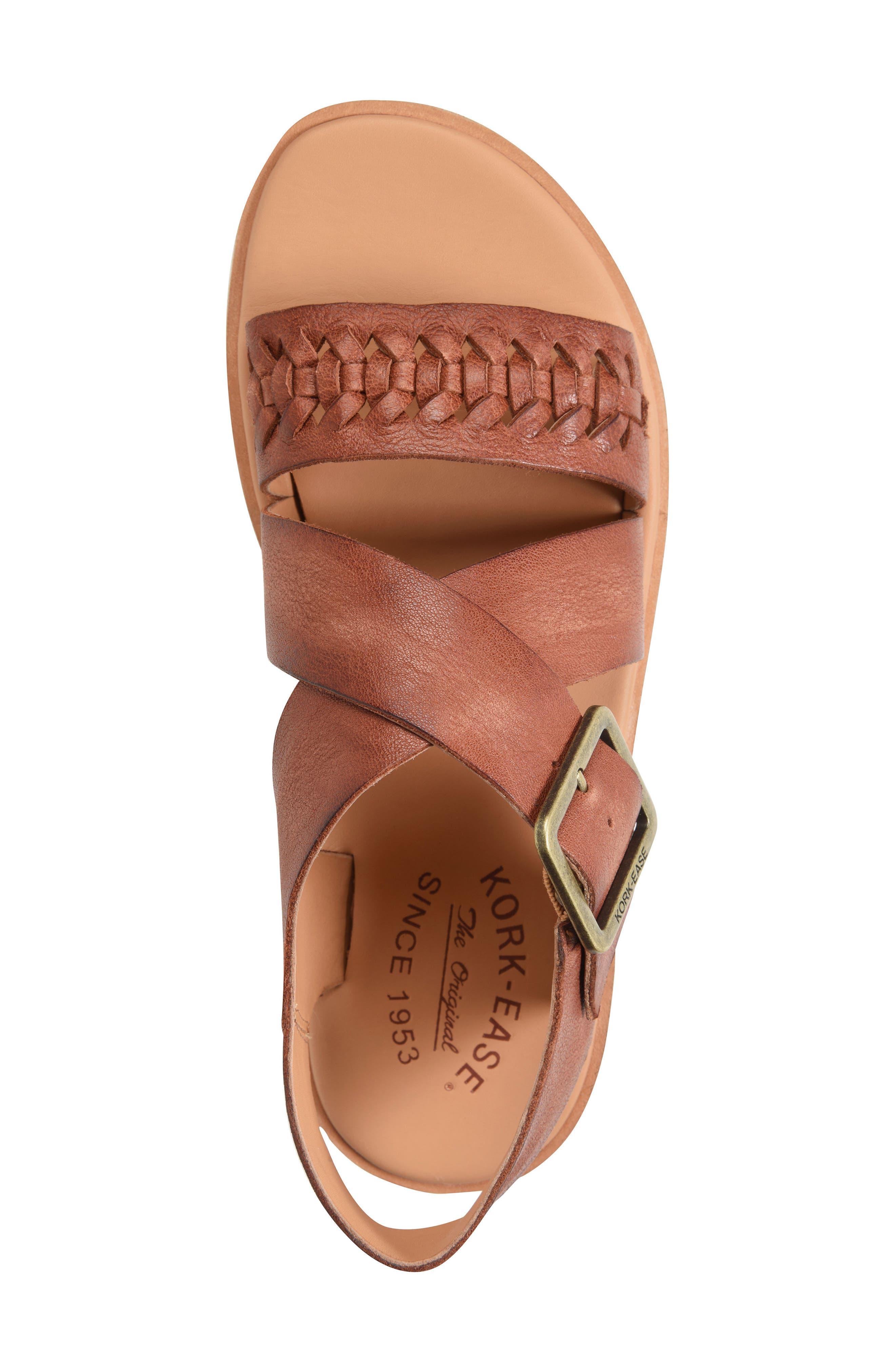 Nara Braid Sandal,                             Alternate thumbnail 5, color,                             BROWN LEATHER