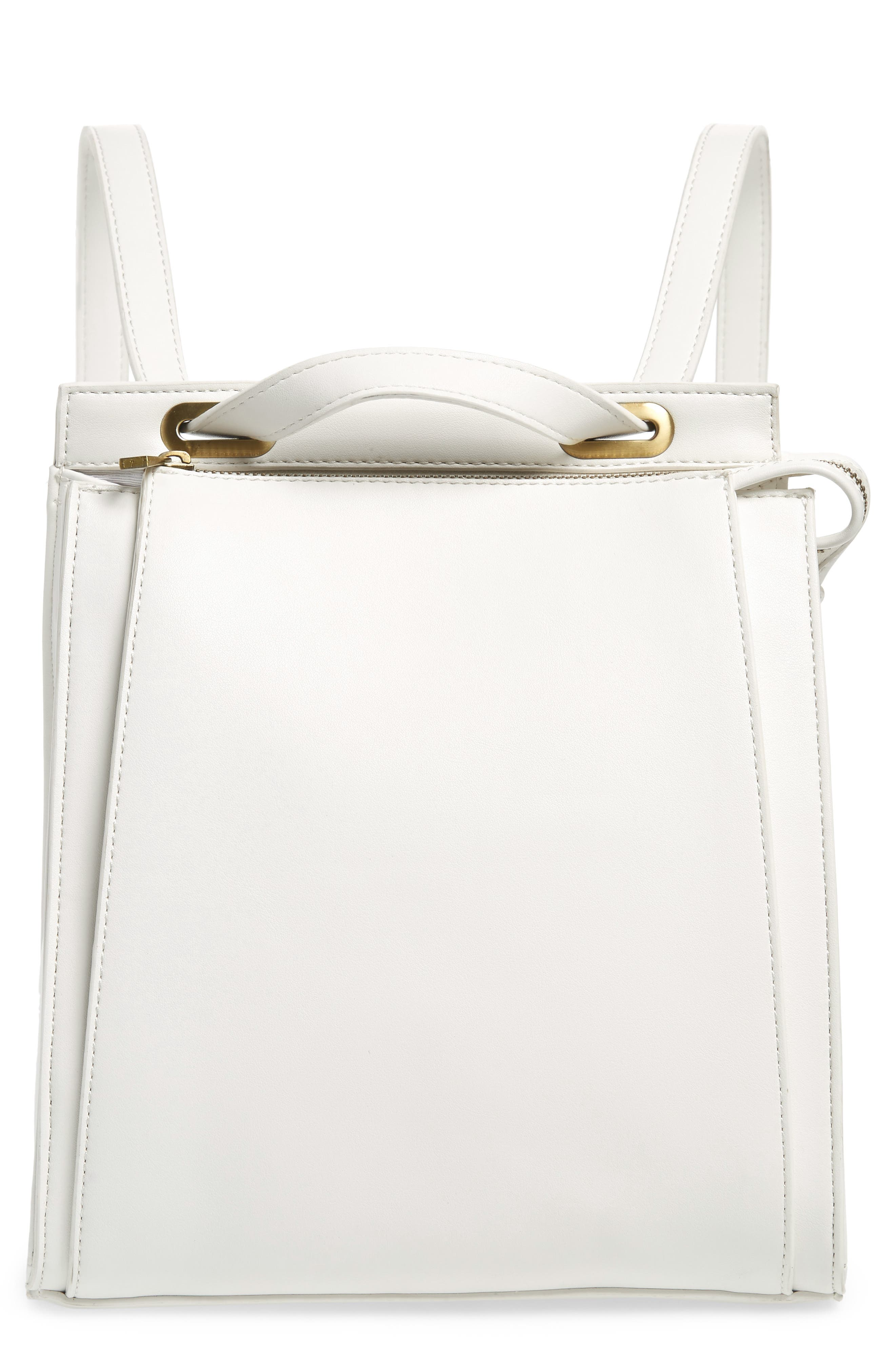 Faux Leather Convertible Backpack,                         Main,                         color, OPTIC WHITE