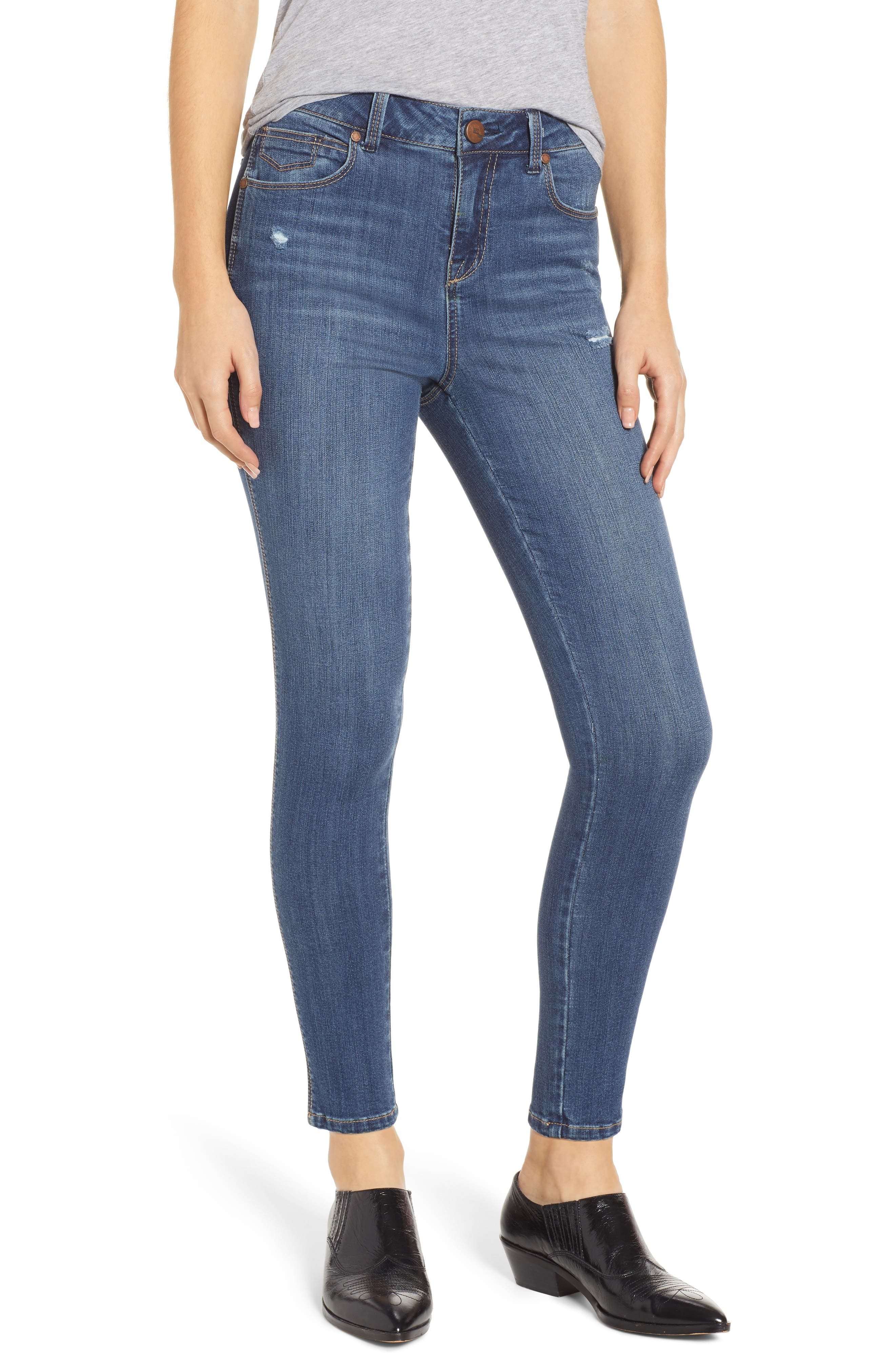 Distressed Skinny Jeans, Main, color, SUBLIME